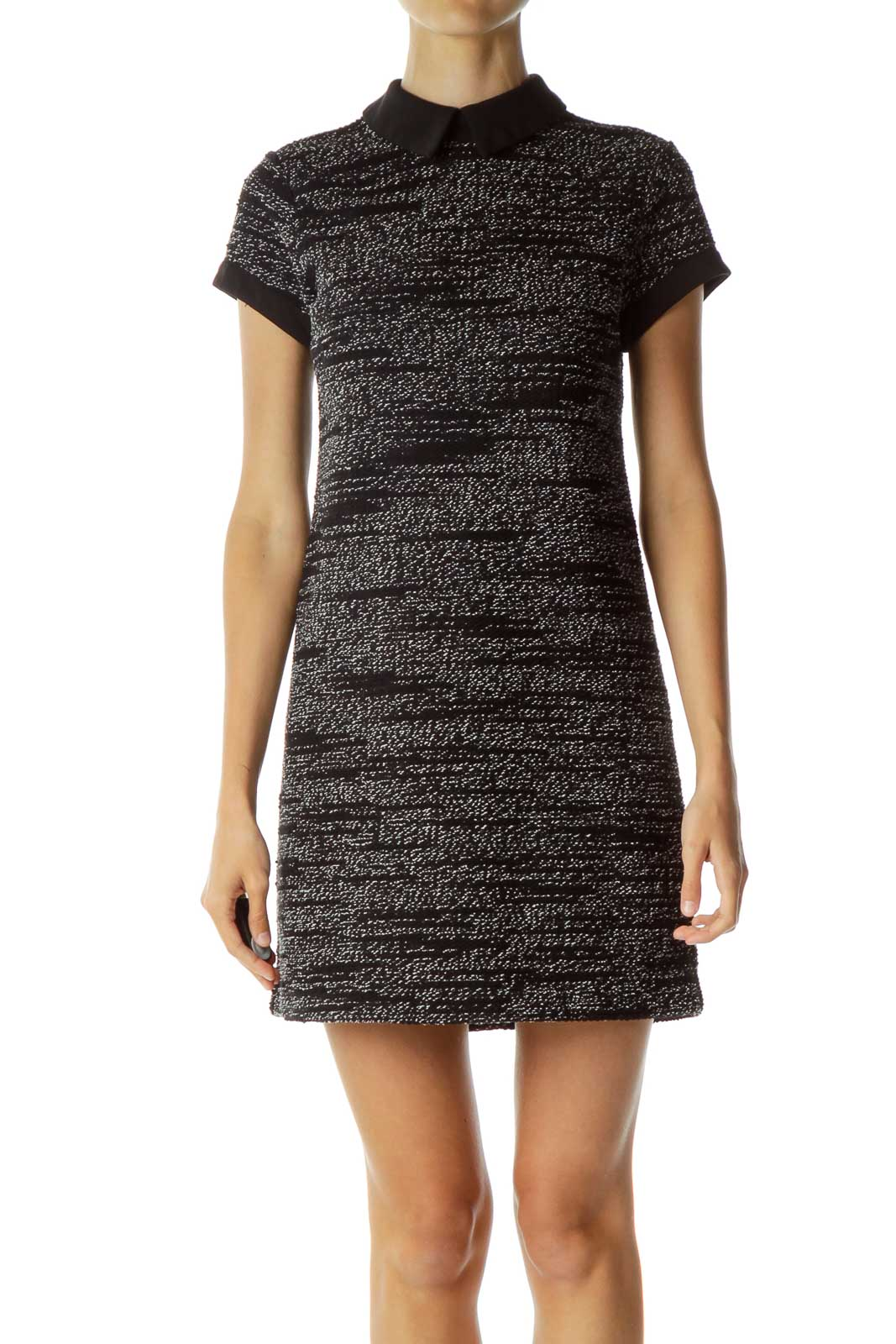 Black White Threaded Collared Dress Front