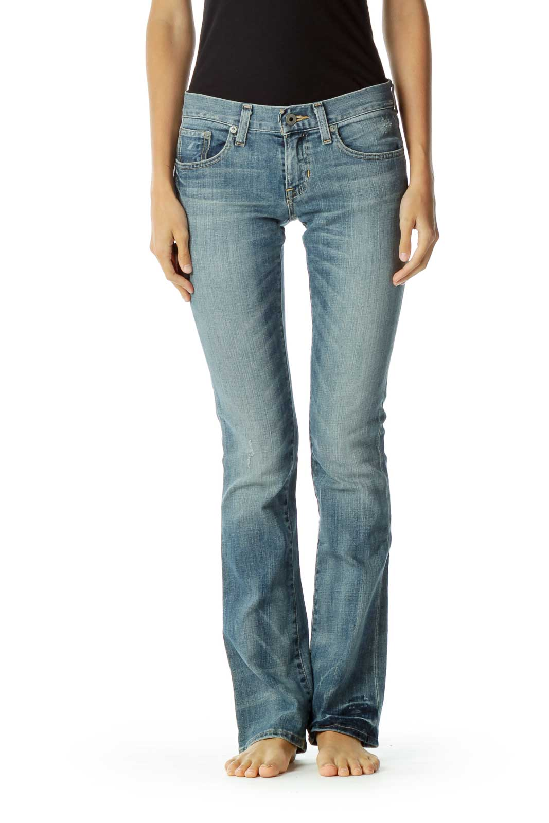 Blue Washed Flared Jeans Front