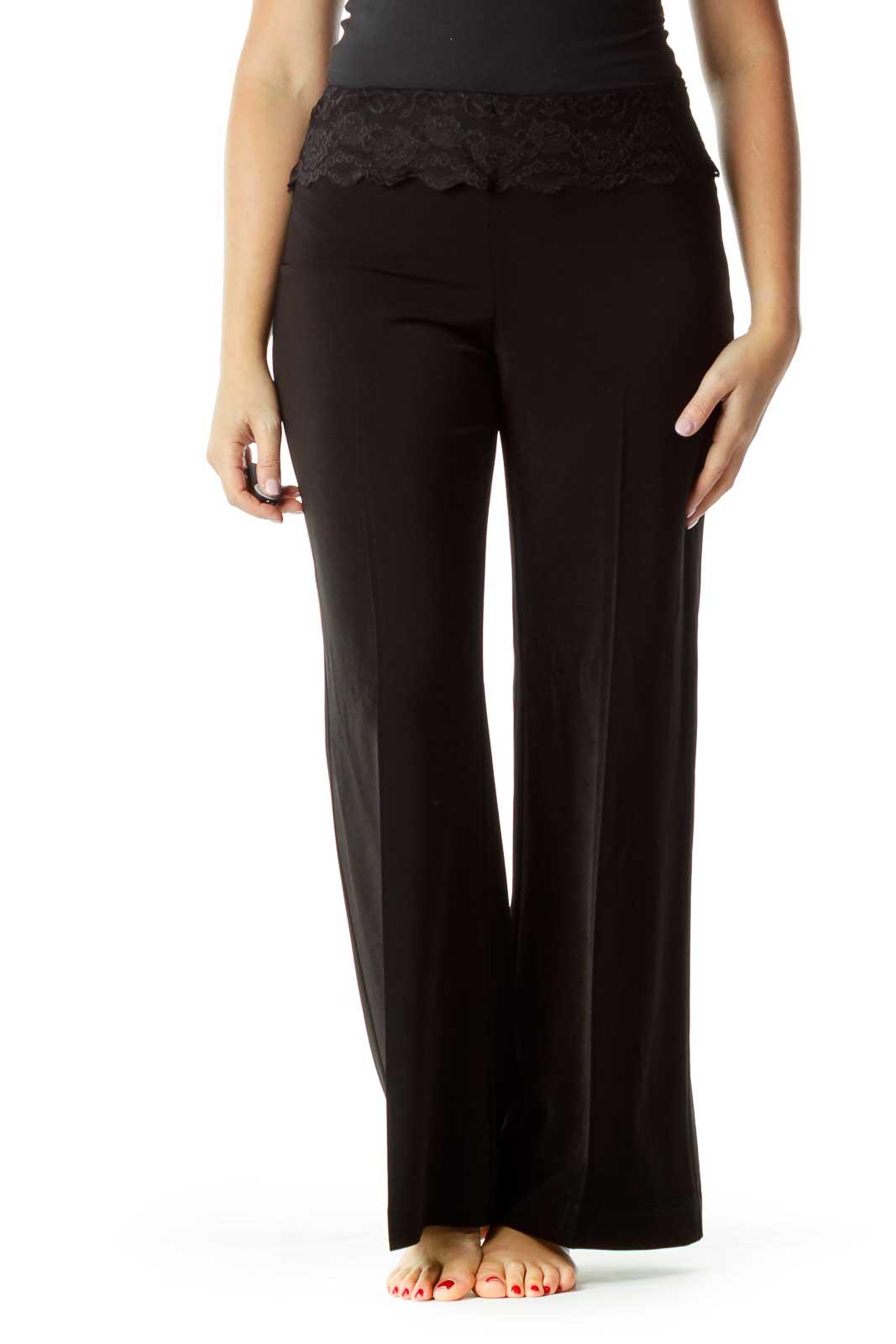 Black Lace Top Wide-Leg Slacks Front