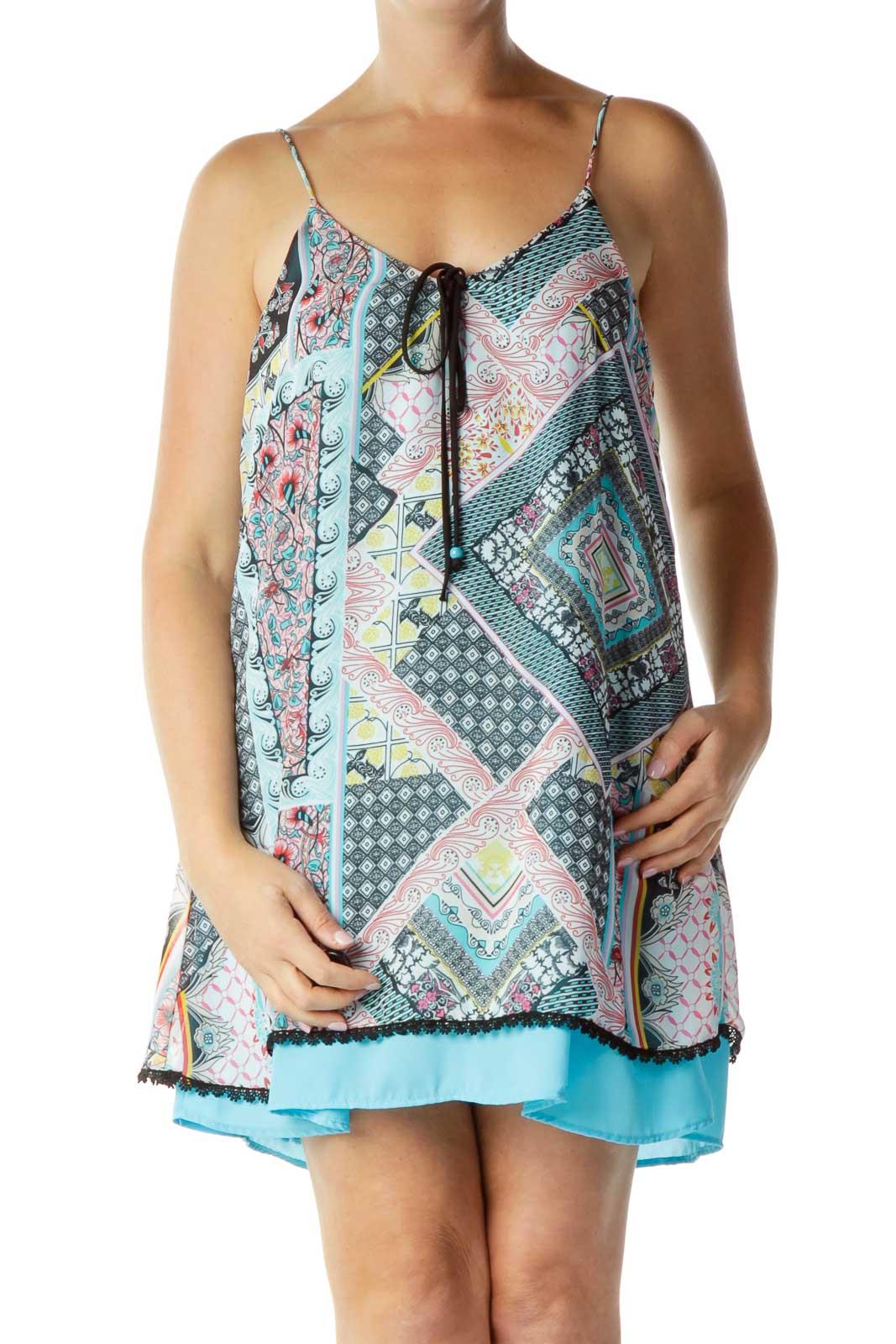 Multicolor Print Shift Dress Front