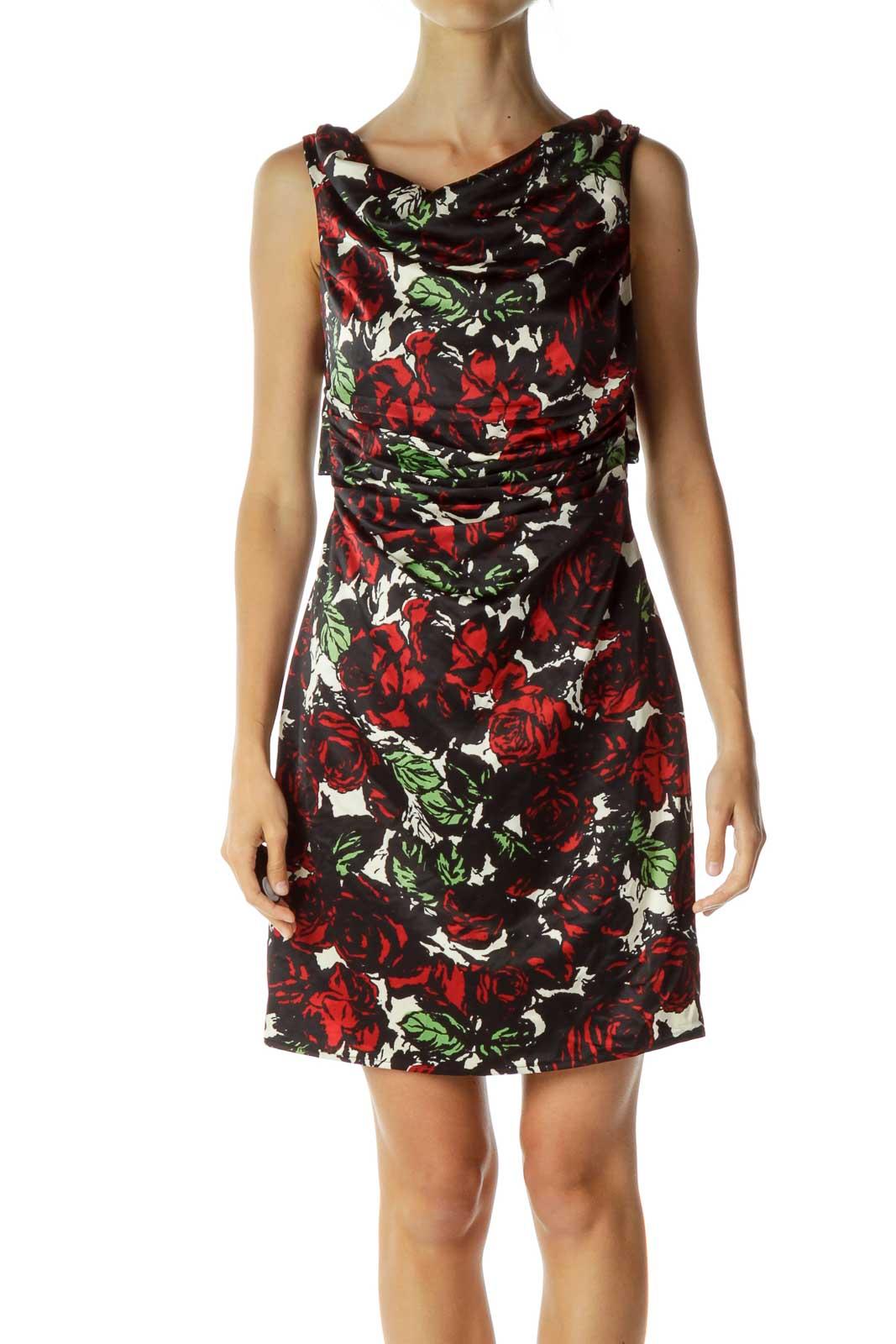 Black Red Open-Back Floral Sheath Dress Front