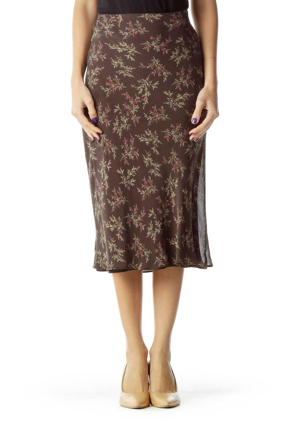 Brown Floral Knee-Length Skirt Front