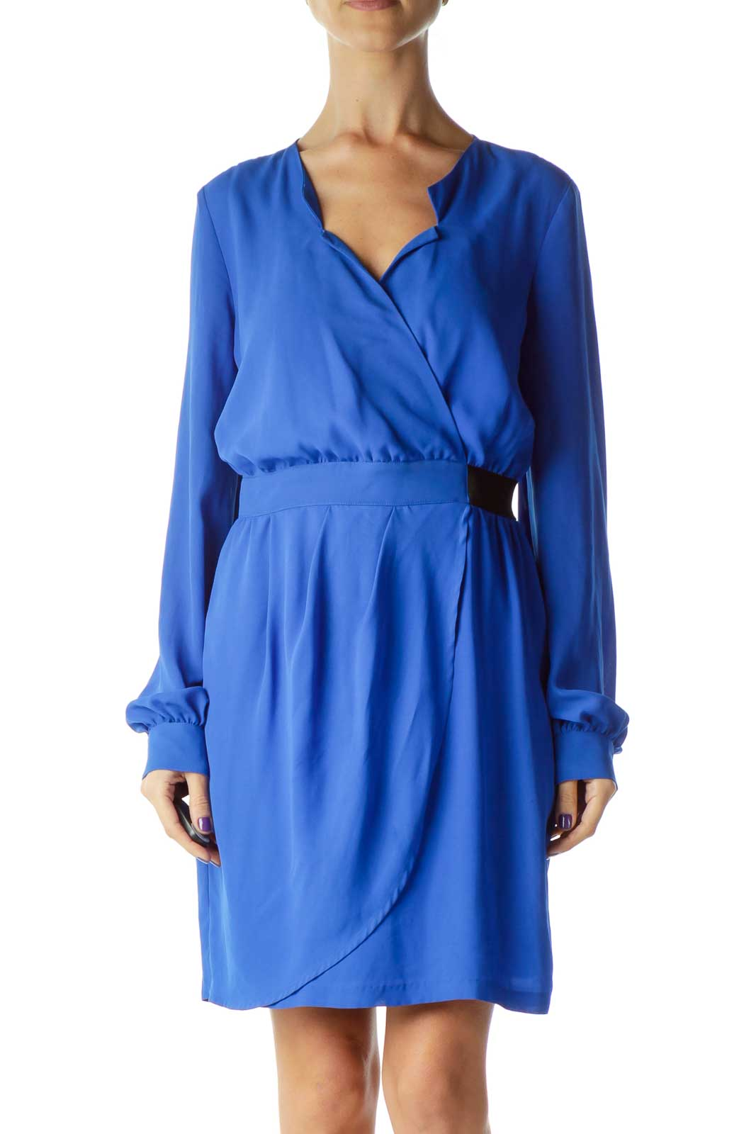 Blue Long Sleeve Pleated Cocktail Dress Front