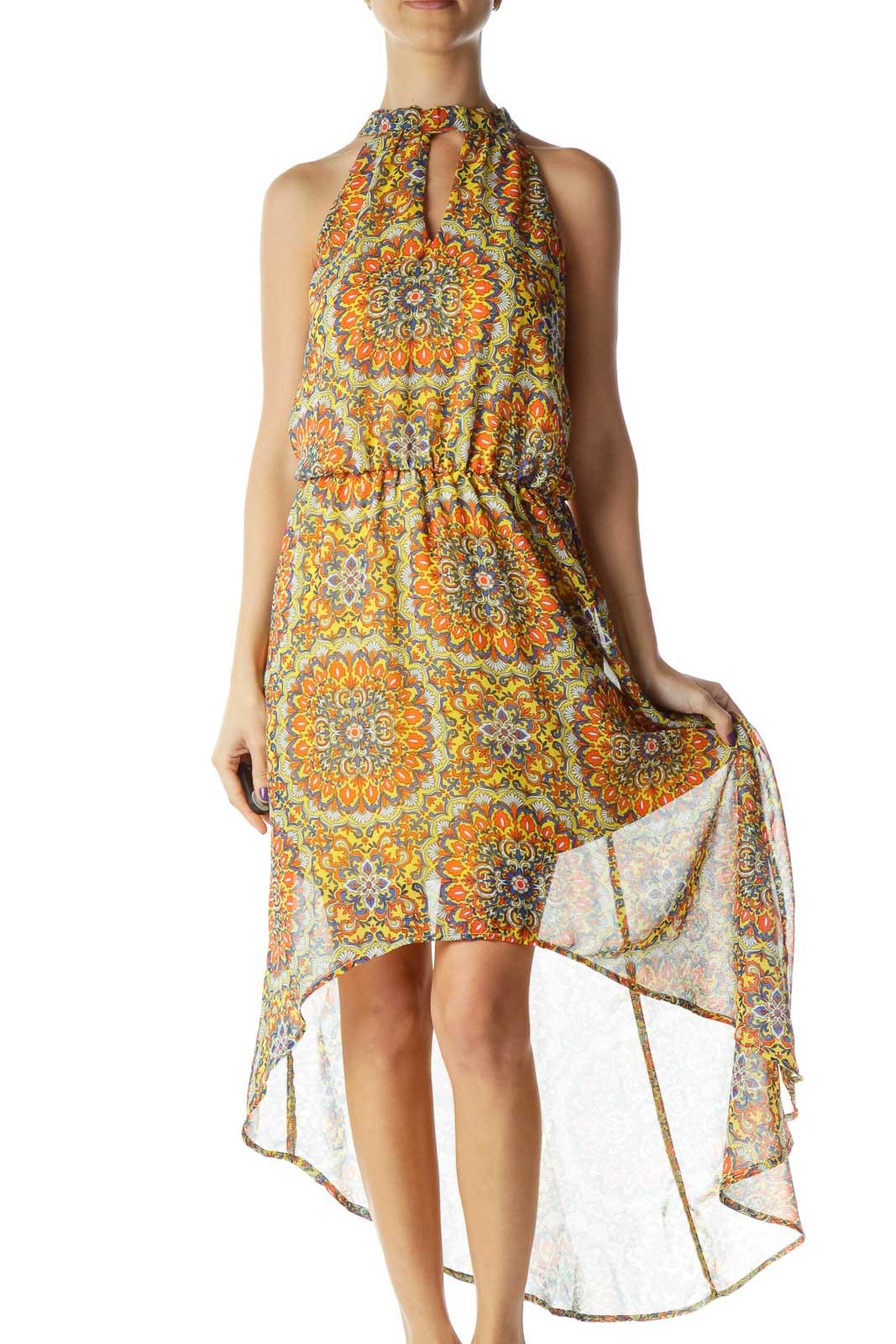 Yellow Orange Blue White High-Low Sleeveless Dress Front
