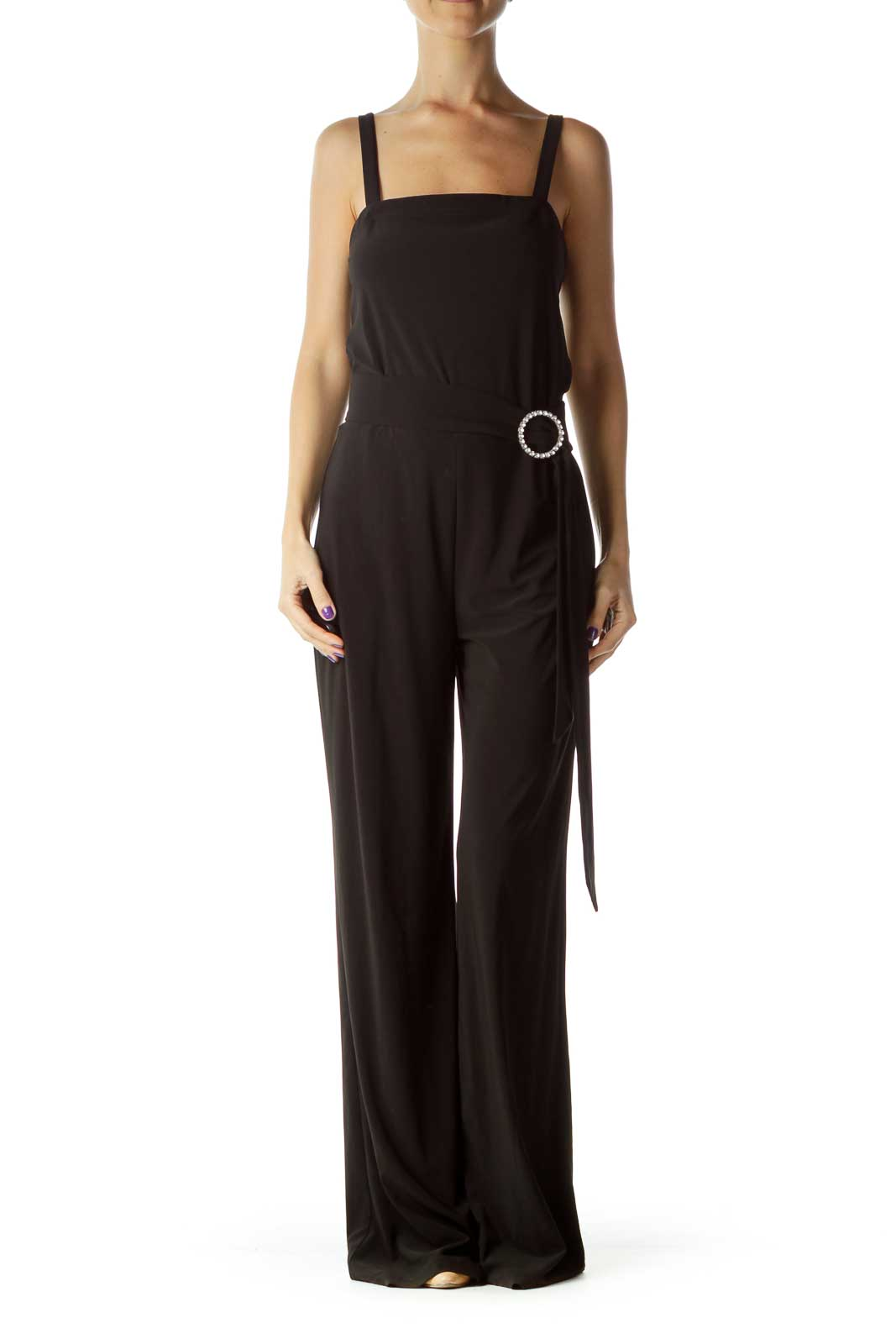 Black Jewel Belted Jumpsuit Front