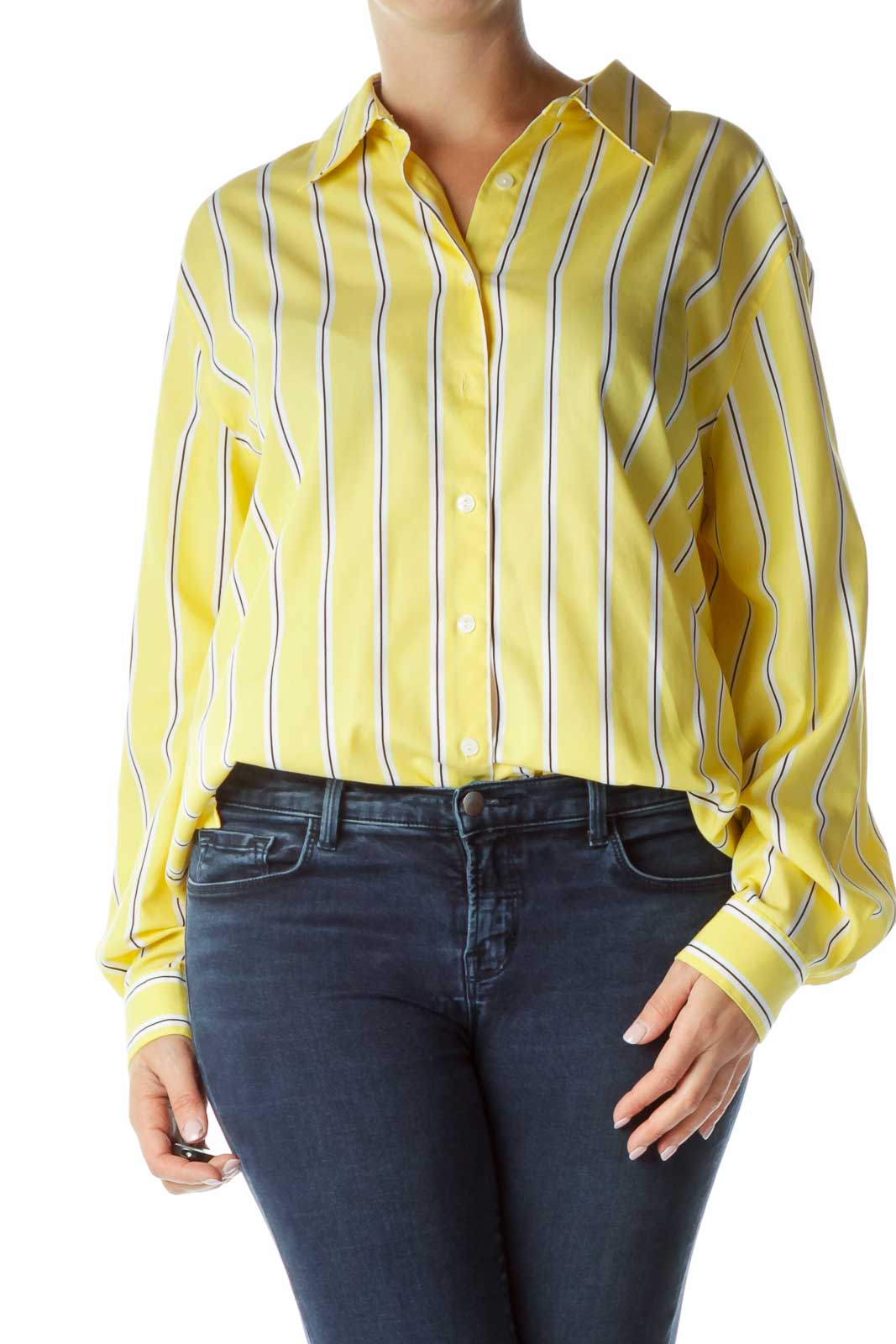 Yellow Black White Pinstriped Button-Up Shirt Front