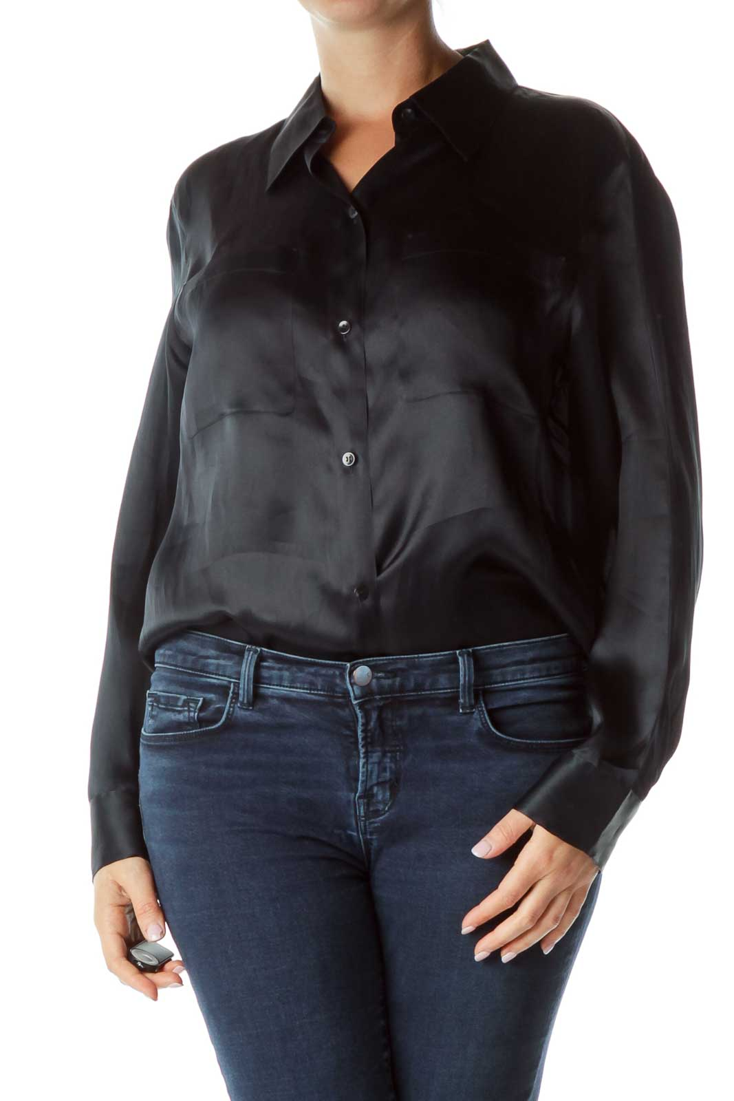 Navy Silk Long-Sleeve Blouse Front
