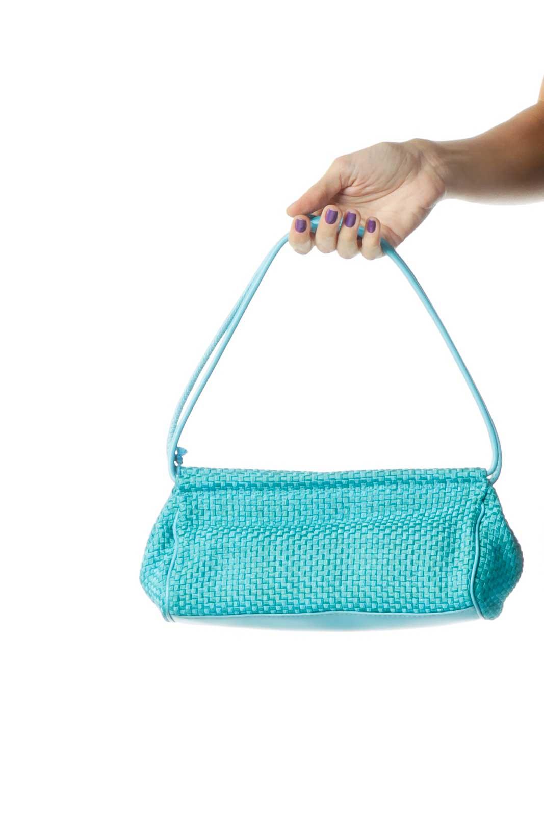 Teal Basket-Weave Shoulder Bag Front