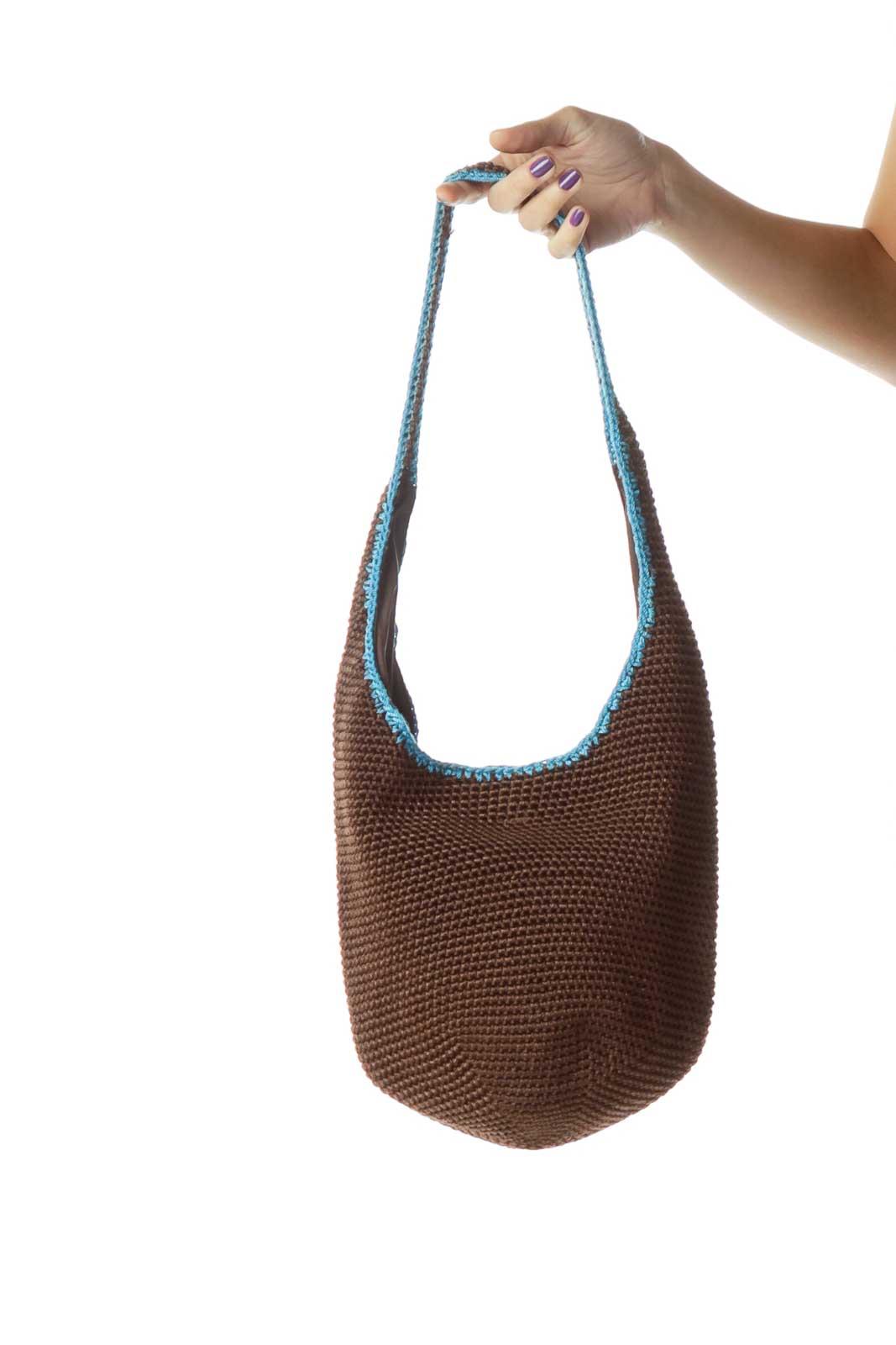 Brown Blue Crocheted Shoulder Bag Front