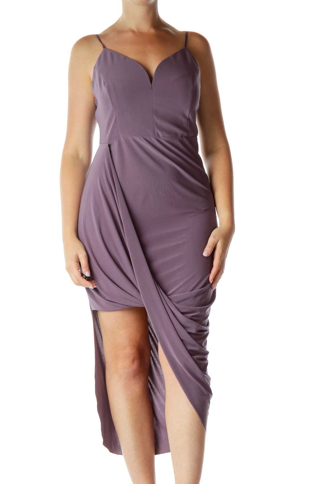 Purple Asymmetric Dress Front