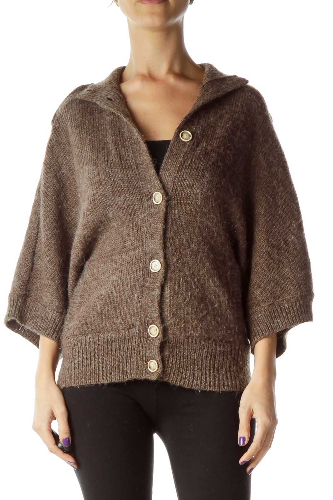 Brown Buttoned Short-Sleeve Knit Front