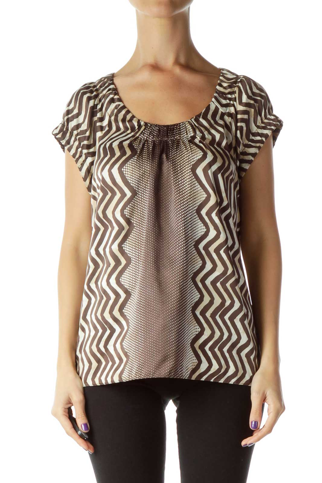 Brown Cream Zig Zag Dotted Top Front