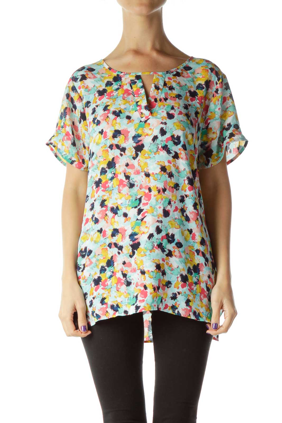 Green Blue Pink Yellow White Short-Sleeve Top Front
