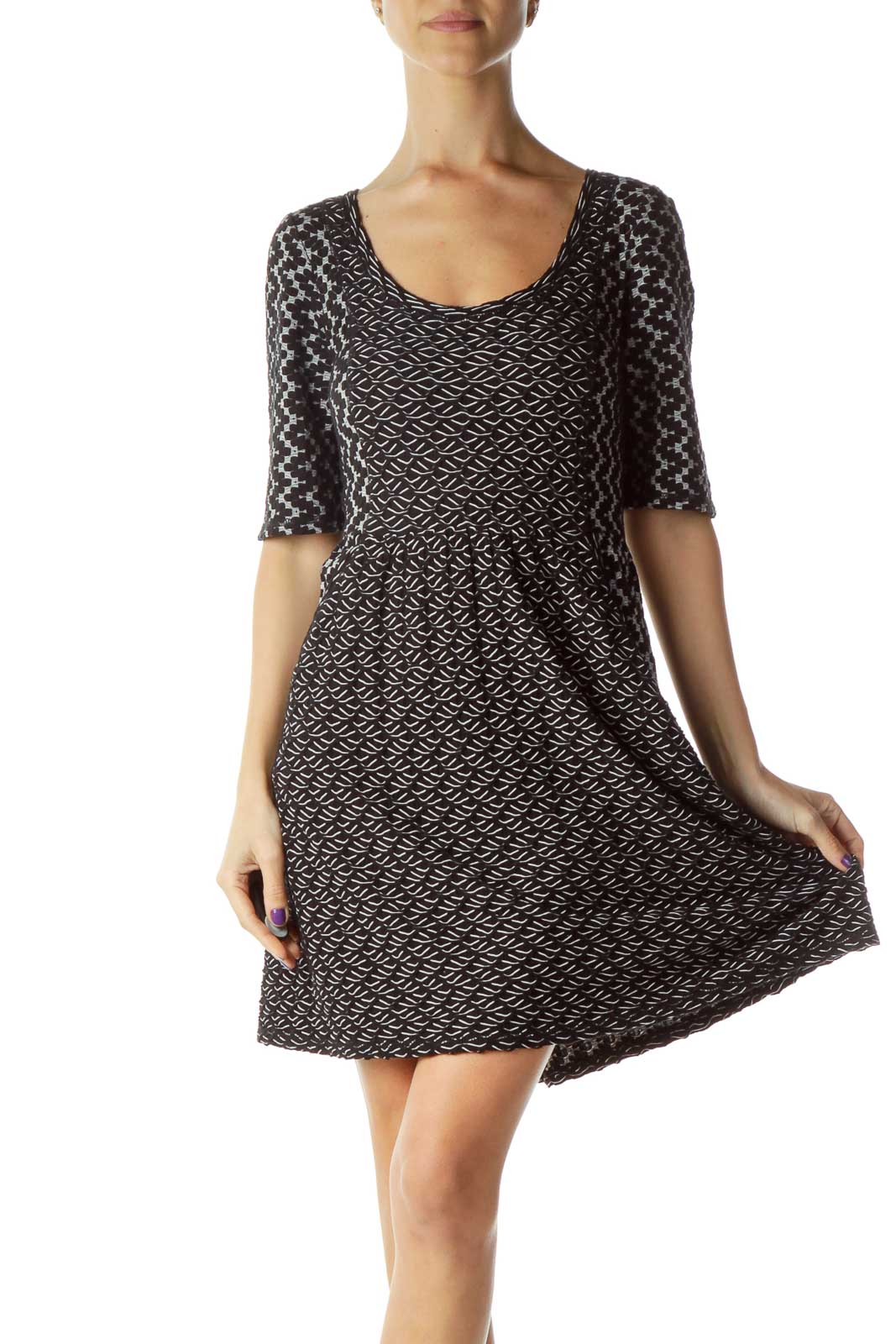 Black White Textured Woven Dress Front