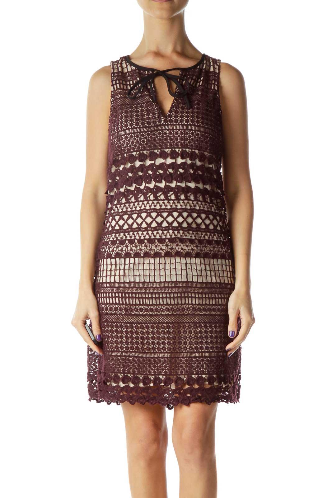 Burgundy Crocheted Sleeveless Dress Front