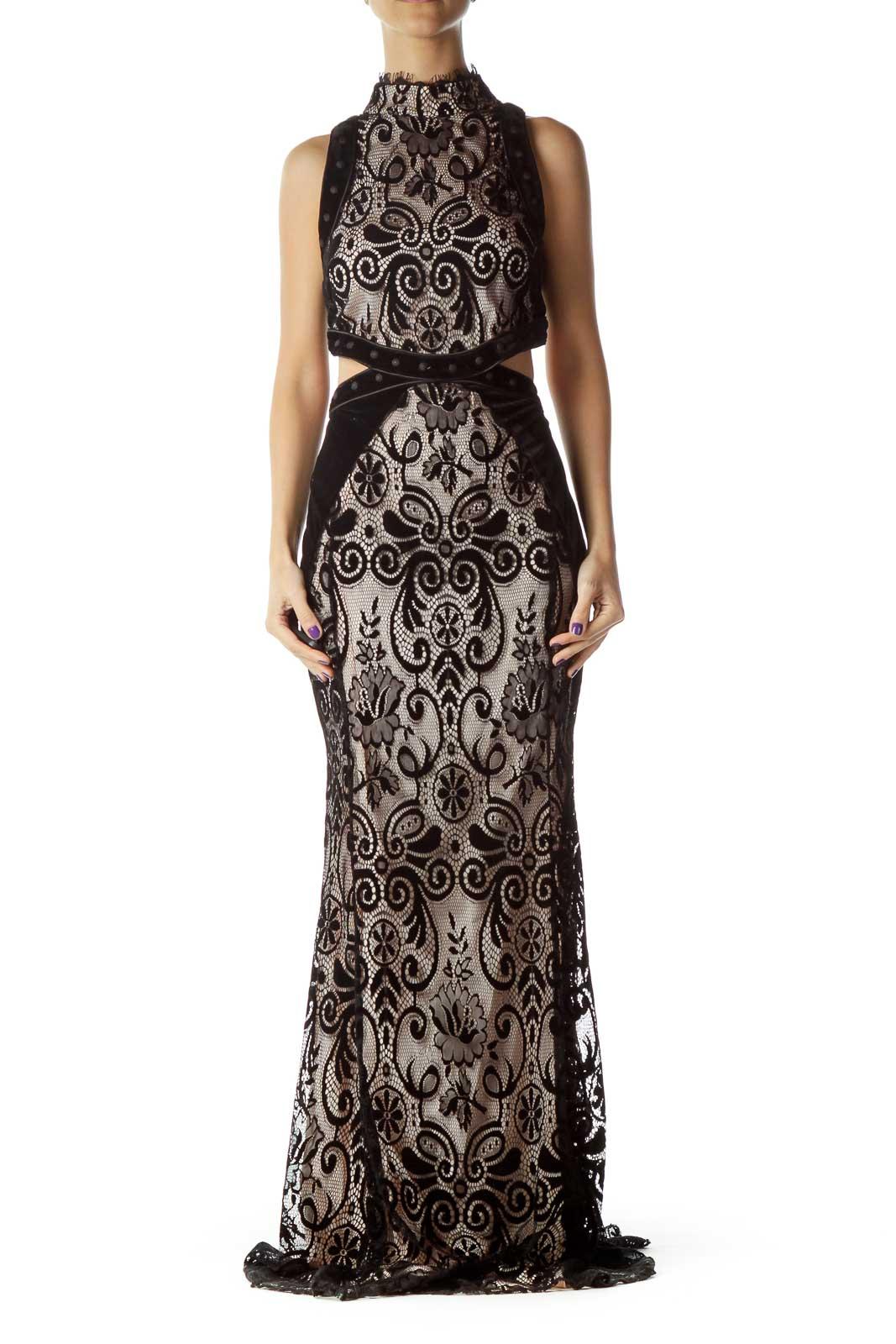 Black Lace Velvet Open Back Gown Front