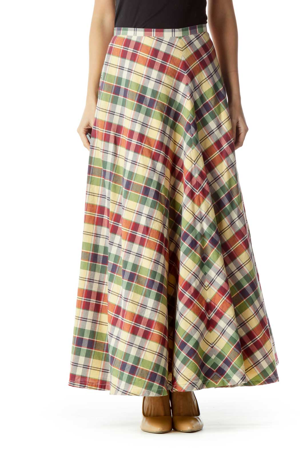 Red Green Yellow Checkered Maxi Skirt Front