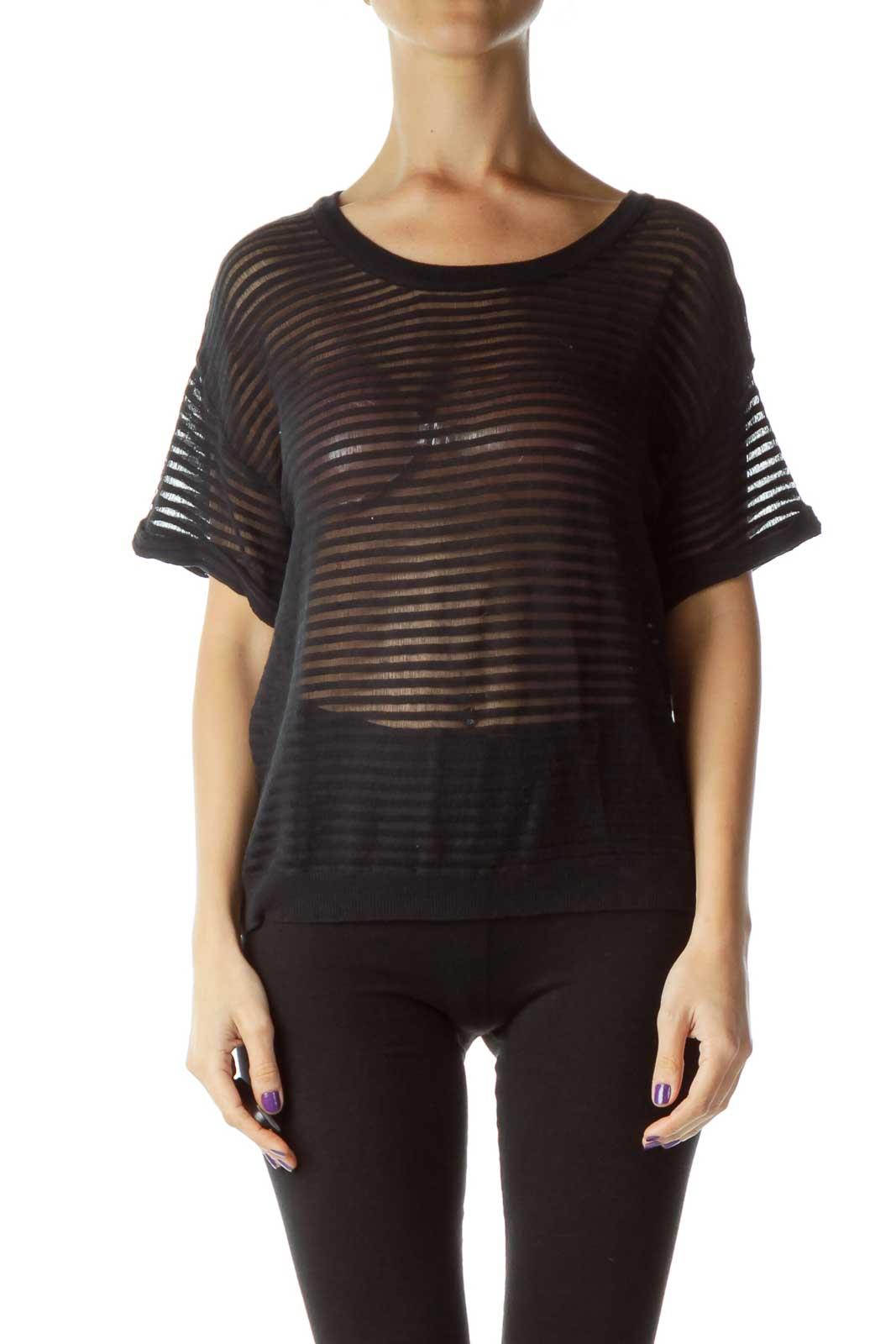 Black Sheer Short T-Shirt Front