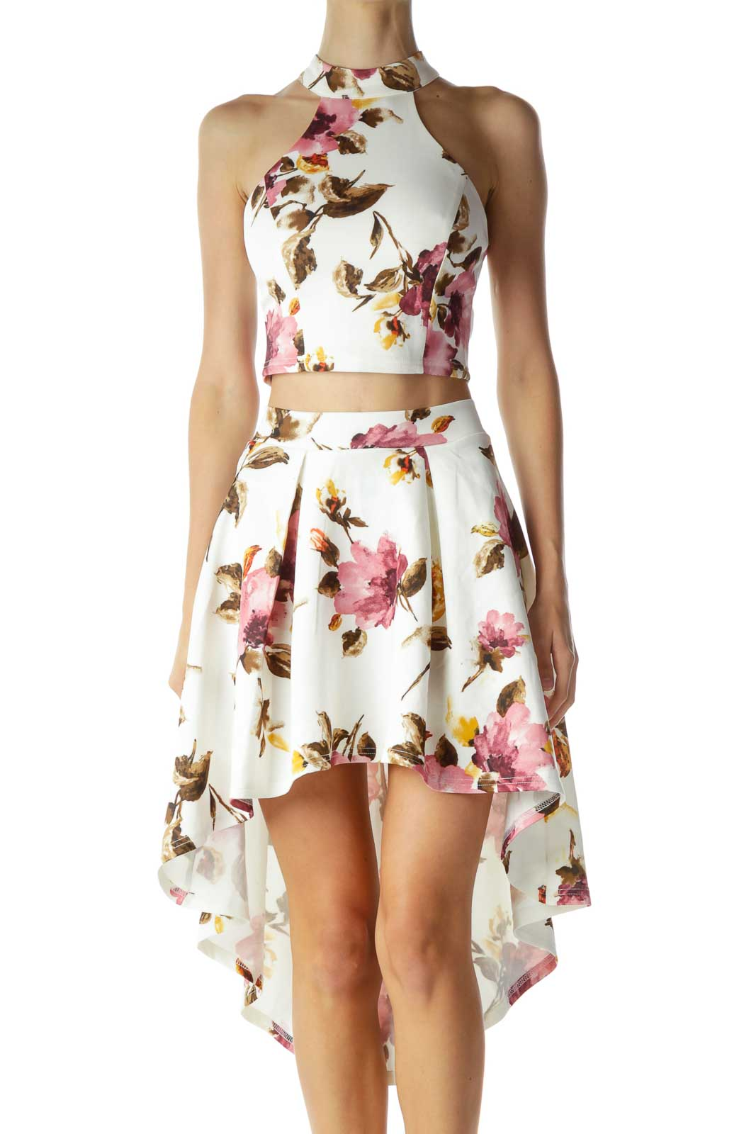 Cream Pink Floral High-Low Skirt & Crop Top Front