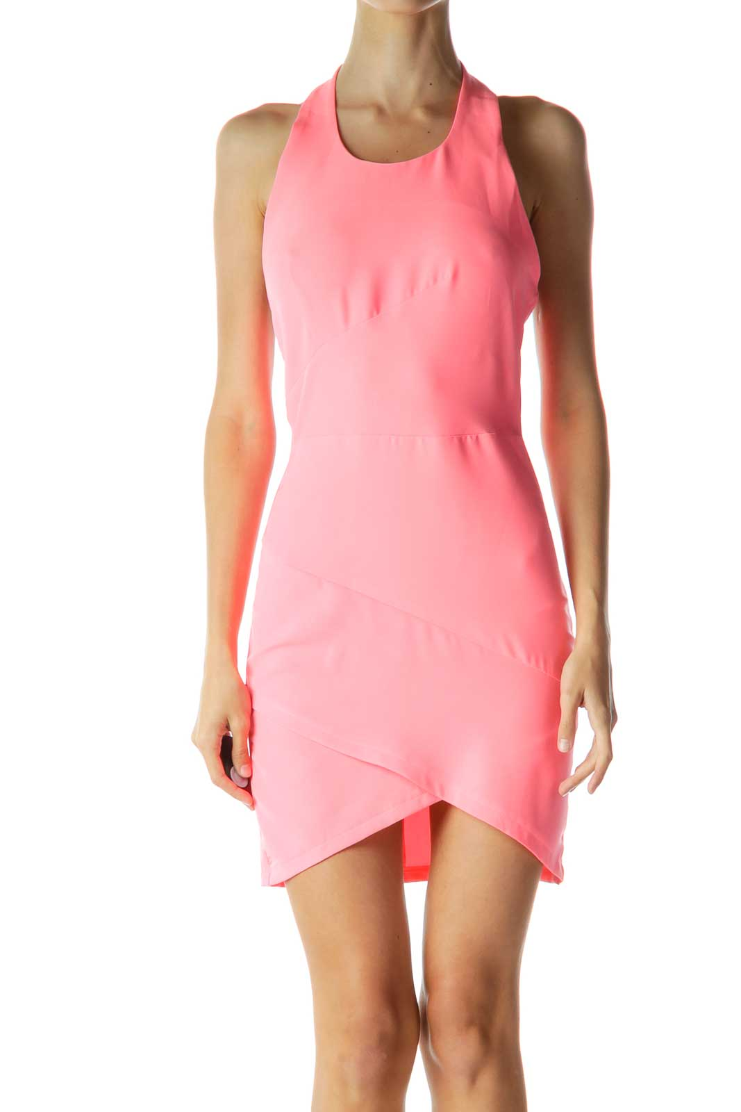 Pink Halter Fitted Cocktail Dress Front