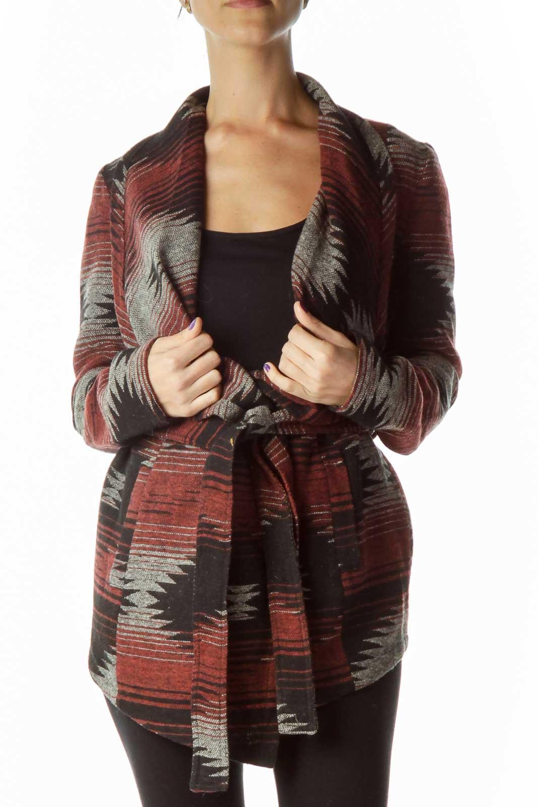 Black Red Geometric Print Sweater Front