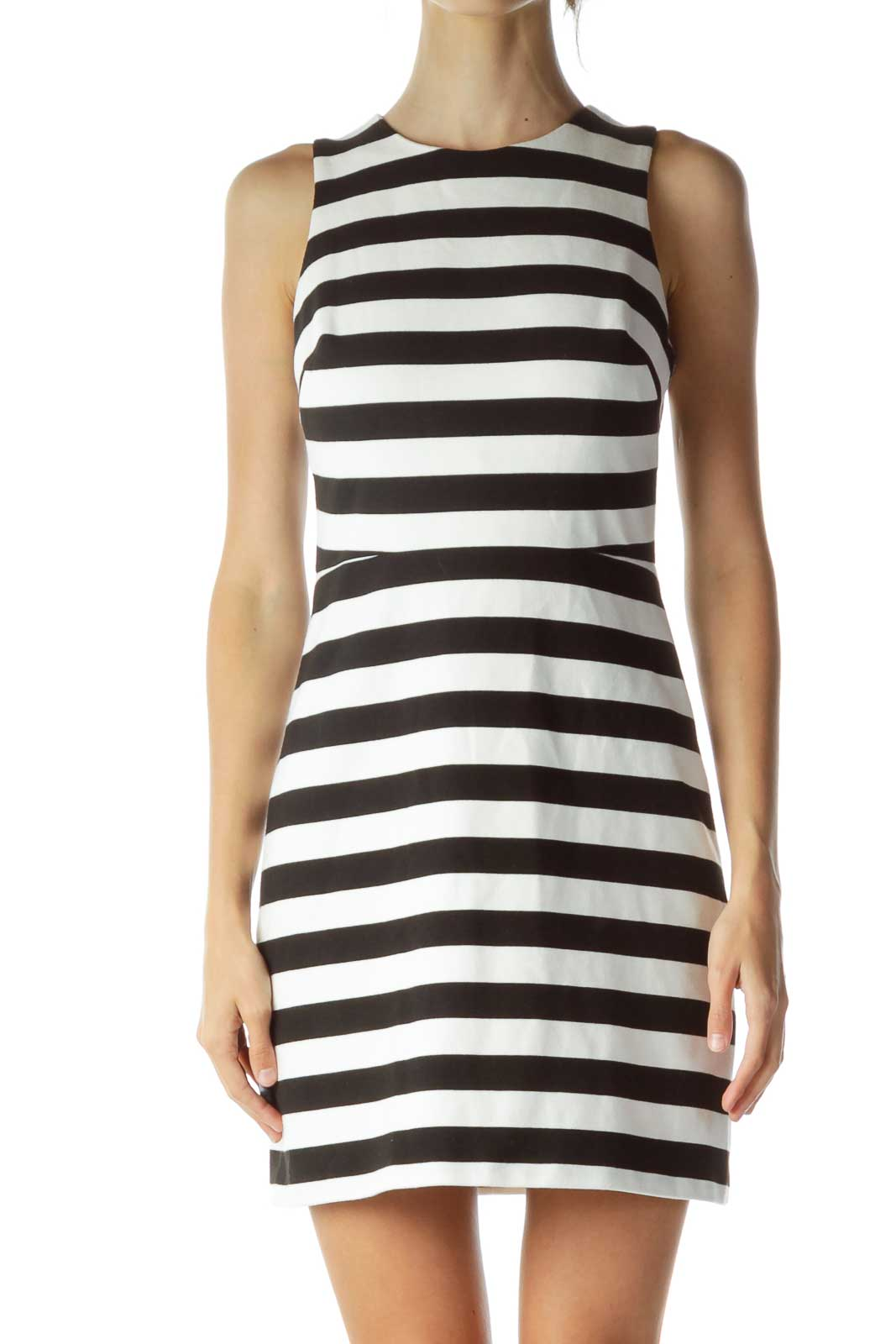 White Black Striped Cut-Out Cocktail Dress Front