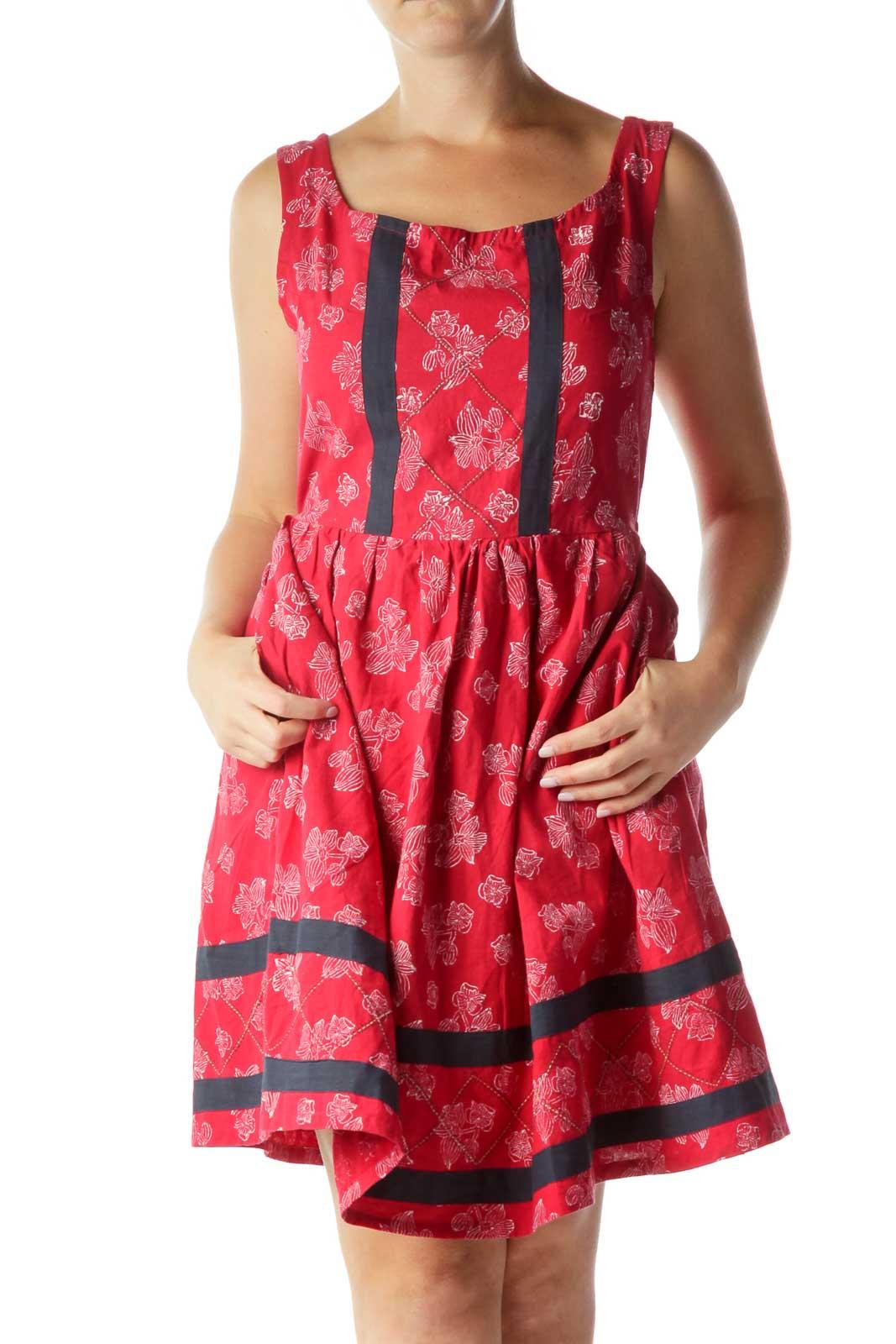 Red White Flower Print Work Dress Front
