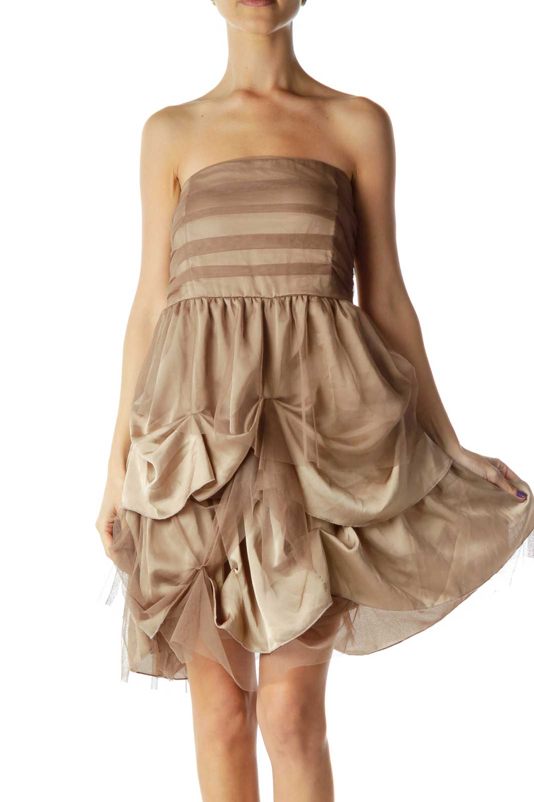 Brown Strapless Tool & Satin Dress Front