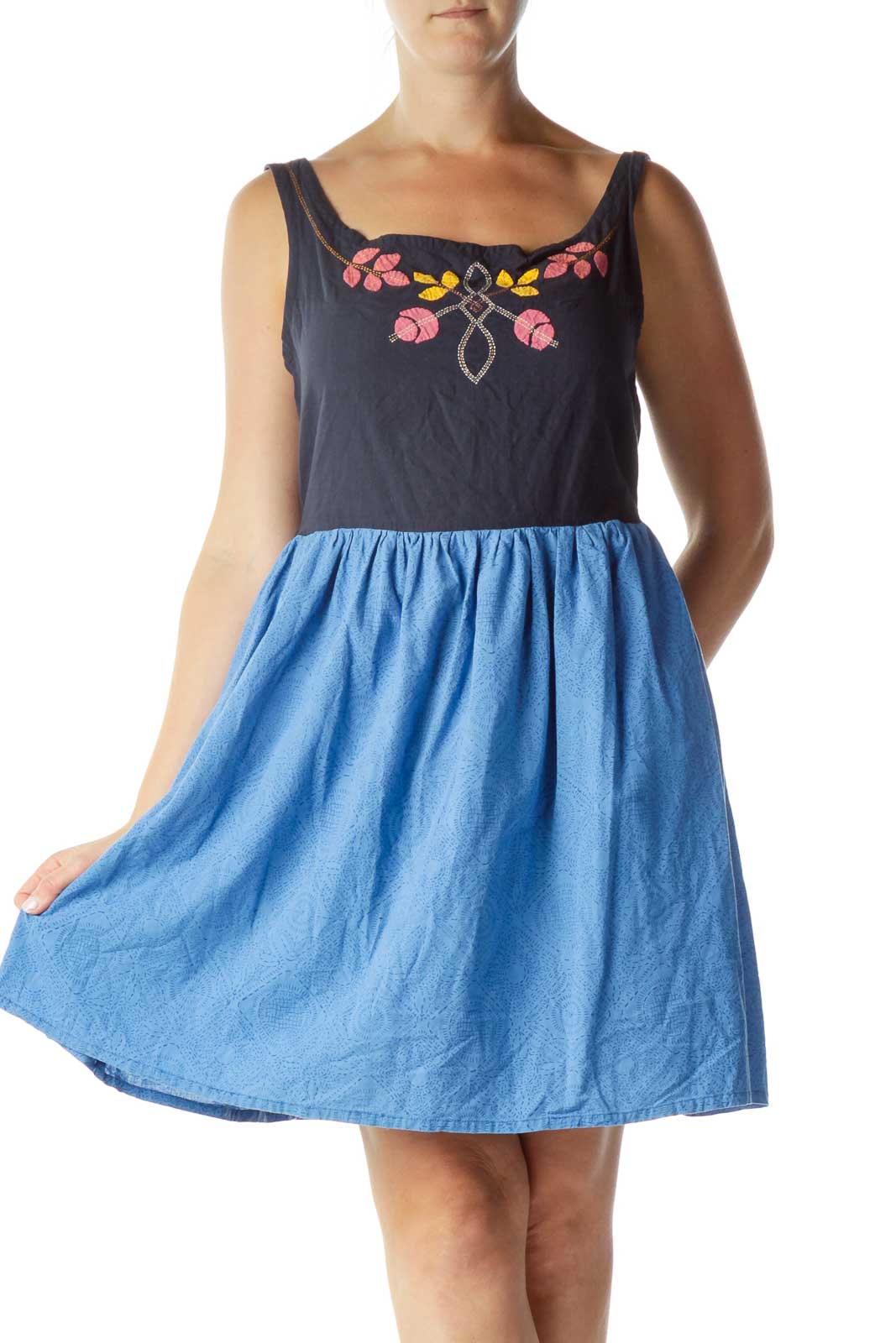 Blue Embroidered A-Line Day Dress  Front
