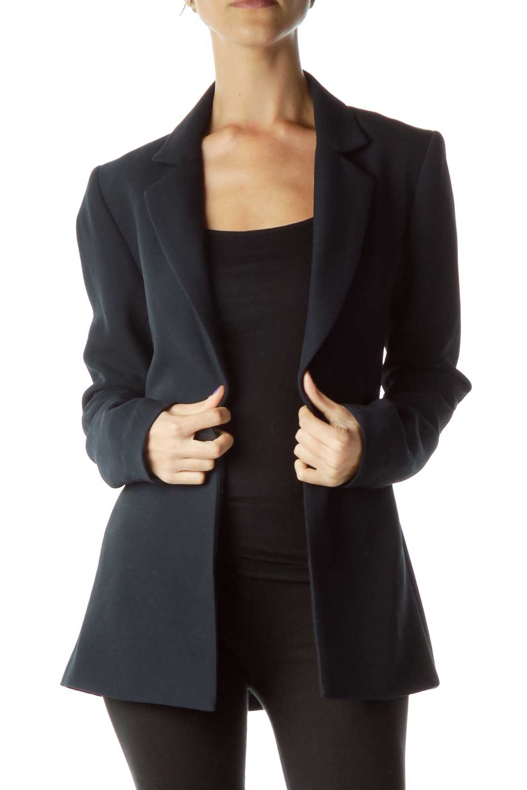 Navy Textured Long Blazer Front