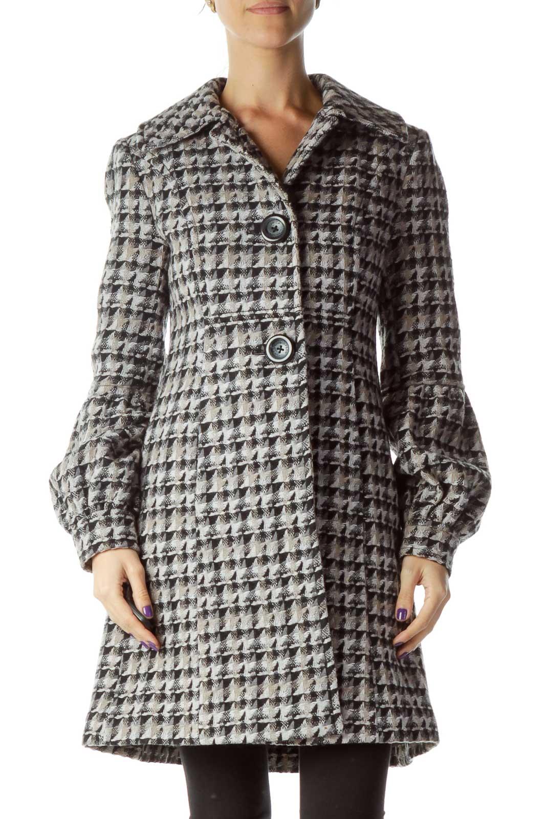 Gray Pattern Knit Coat Front