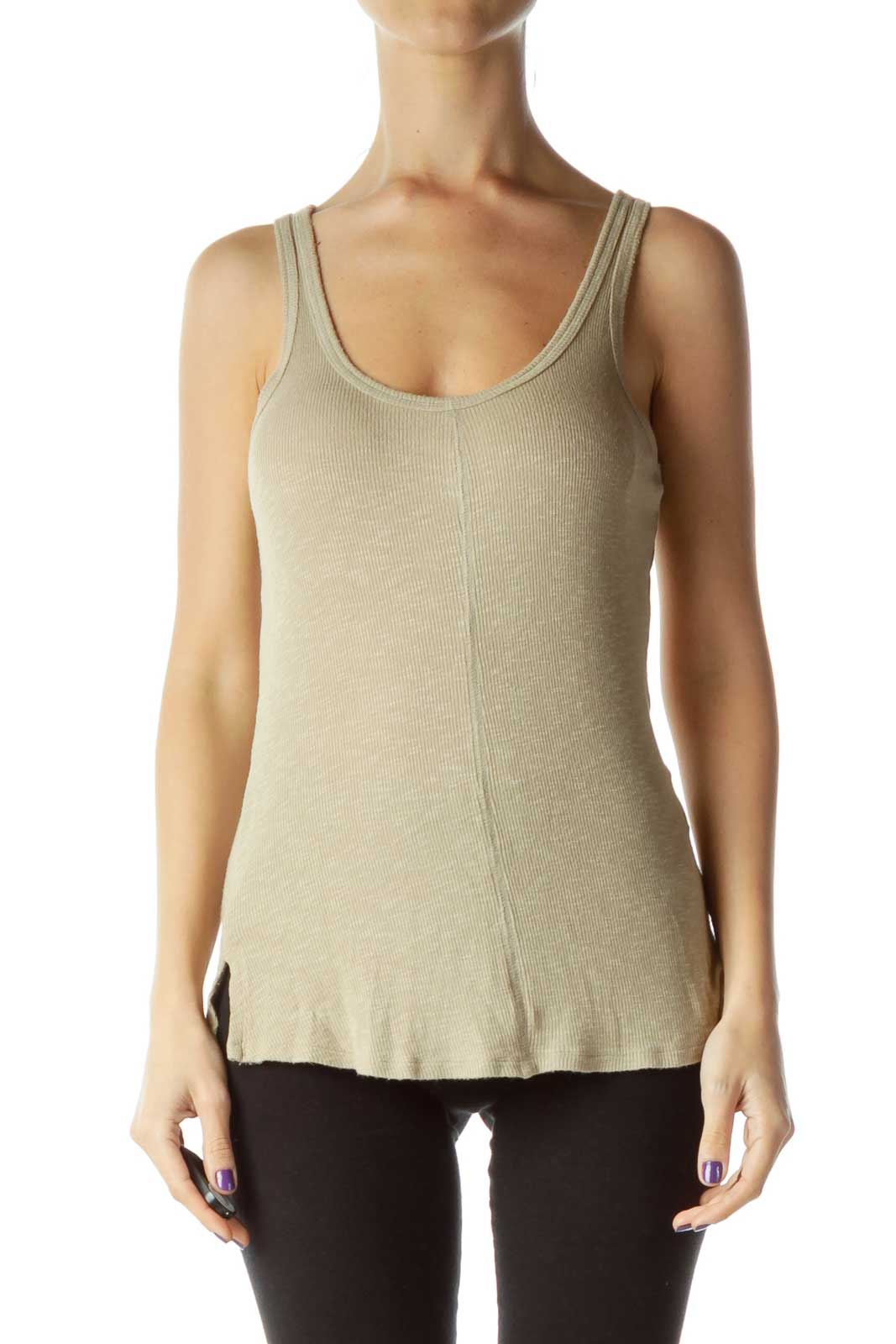 Beige Ribbed Tank Top Front