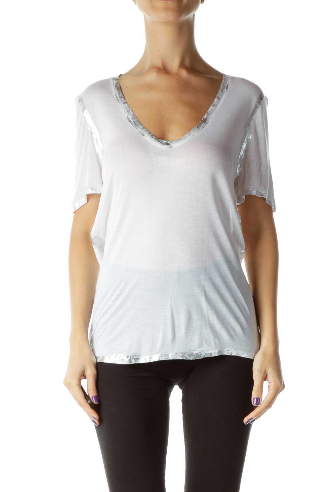 White Silver Metallic V-Neck T-Shirt Front