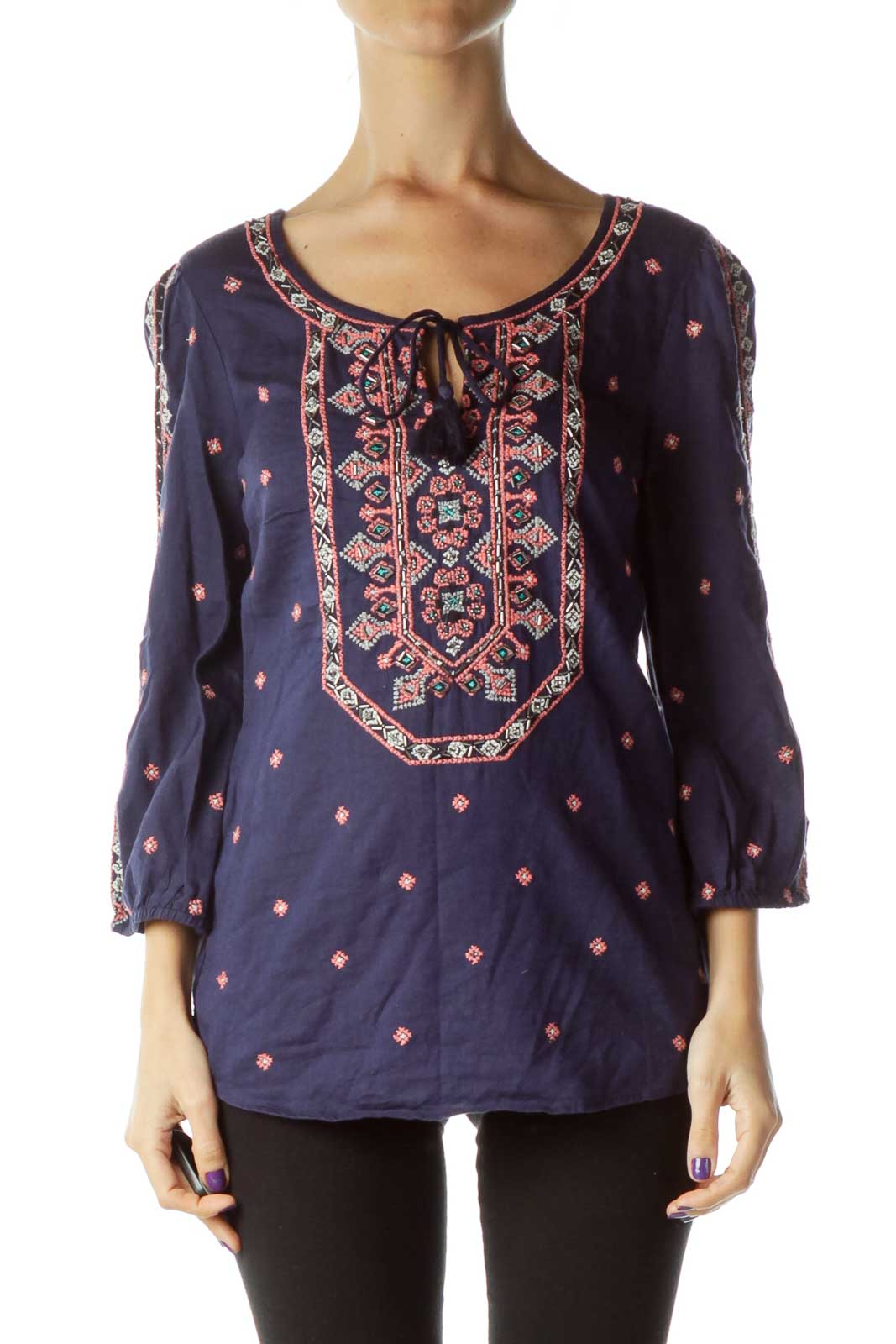 Navy Pink Beaded Embroidered Blouse Front
