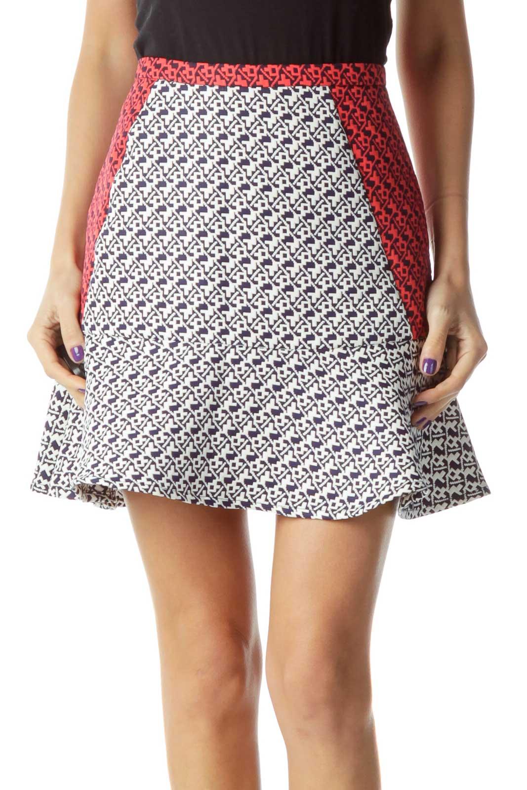 White Navy Red Flared Skirt Front