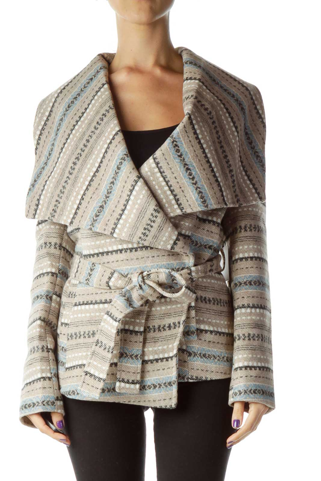 Beige Blue Printed Stripe Jacket Front