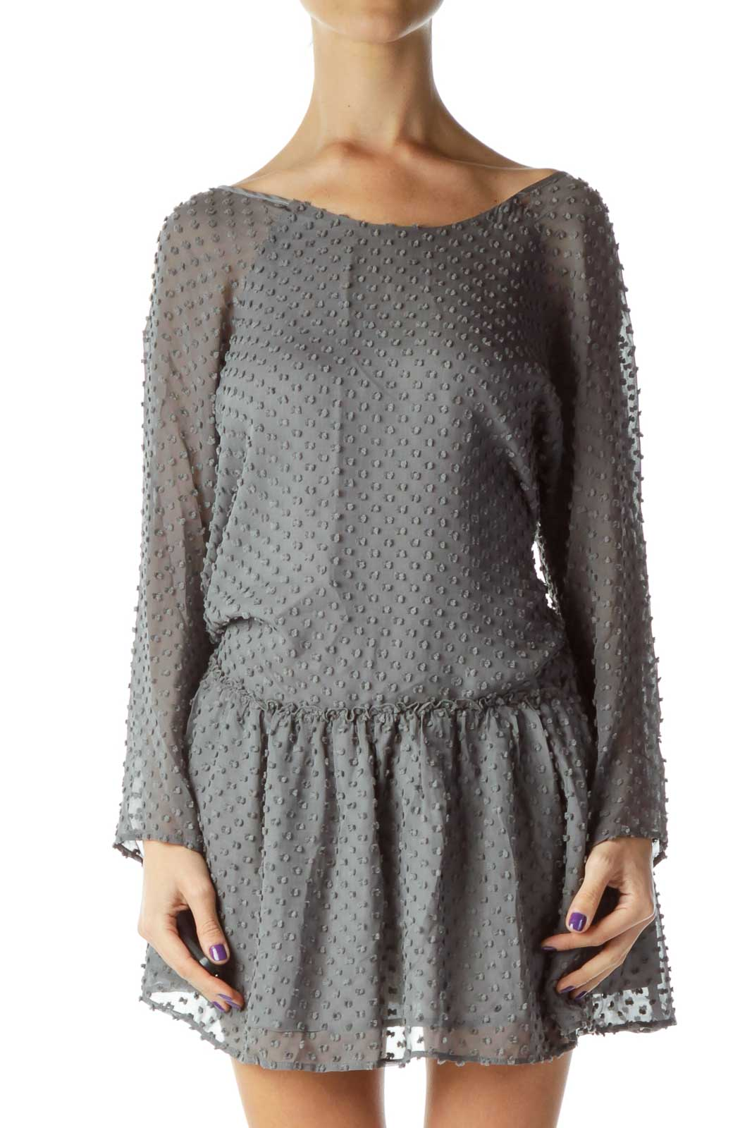 Gray Textured Long Sleeve Day Dress Front