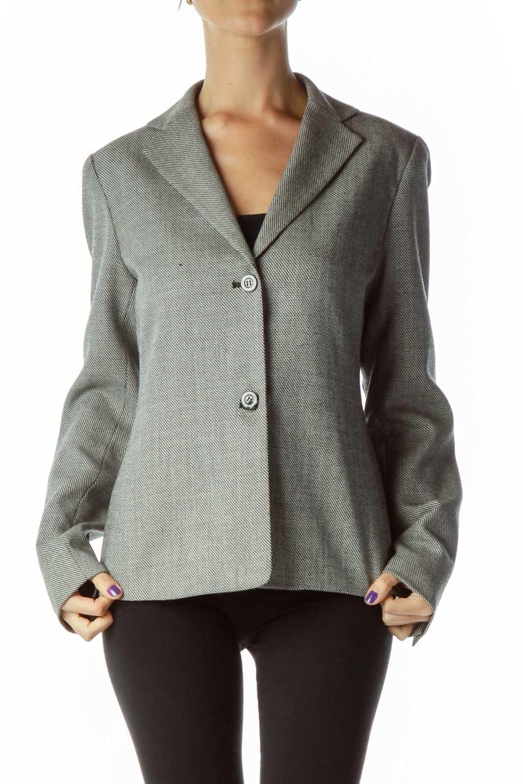 Black White Tweed Blazer Front