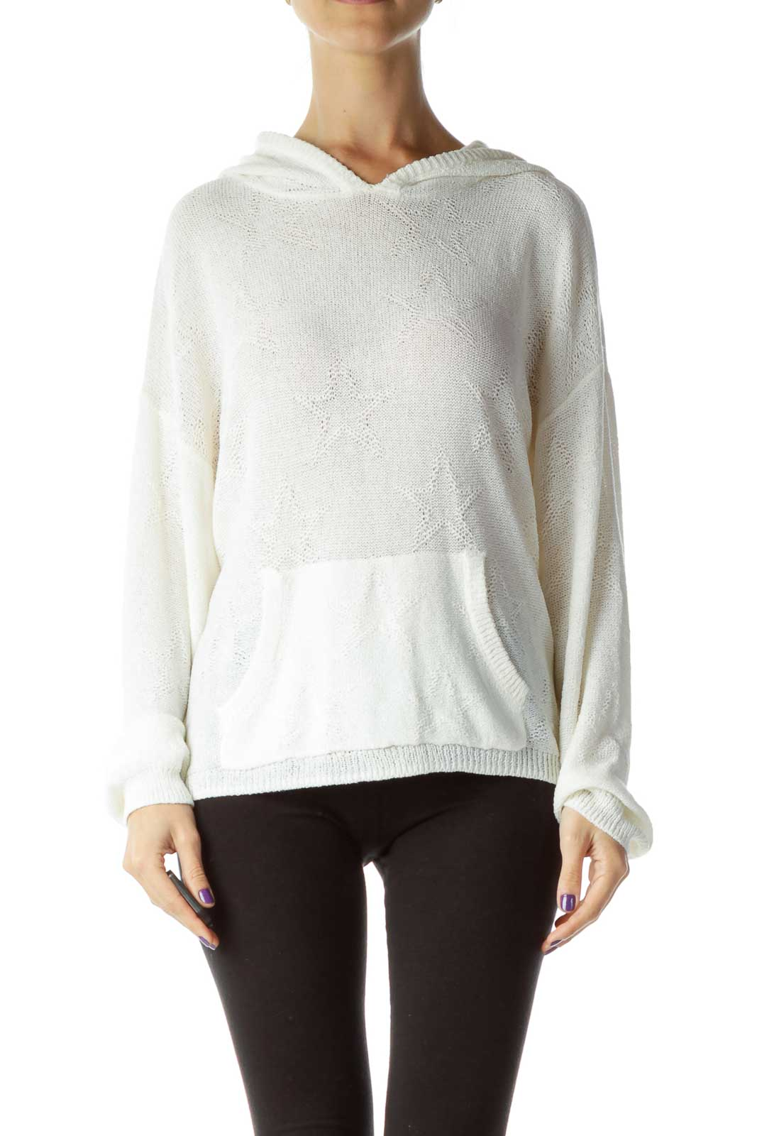White Hooded Long Sleeve Knit Sweater Front