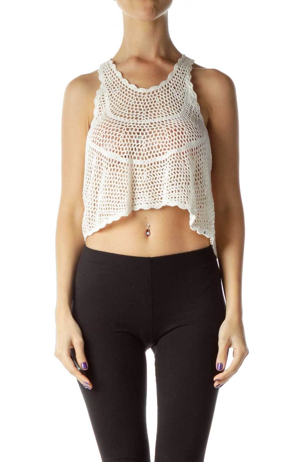 Cream Cable Knit Crop Top Front