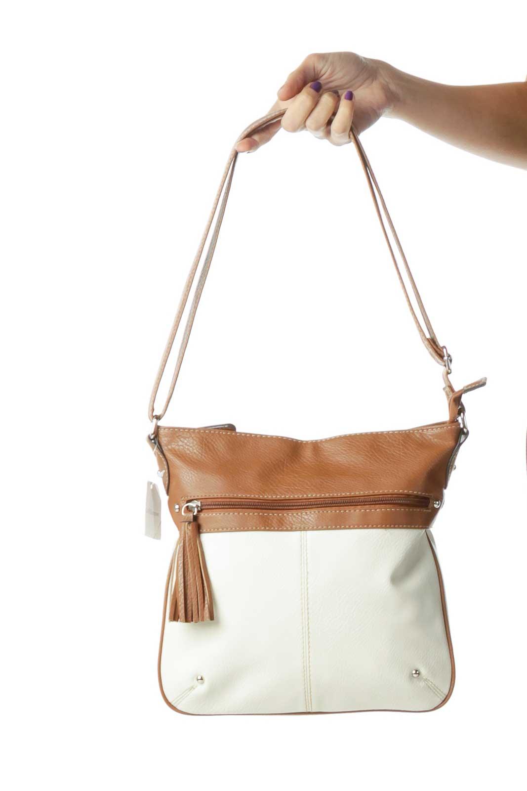 Brown Cream Crossbody Bag Front