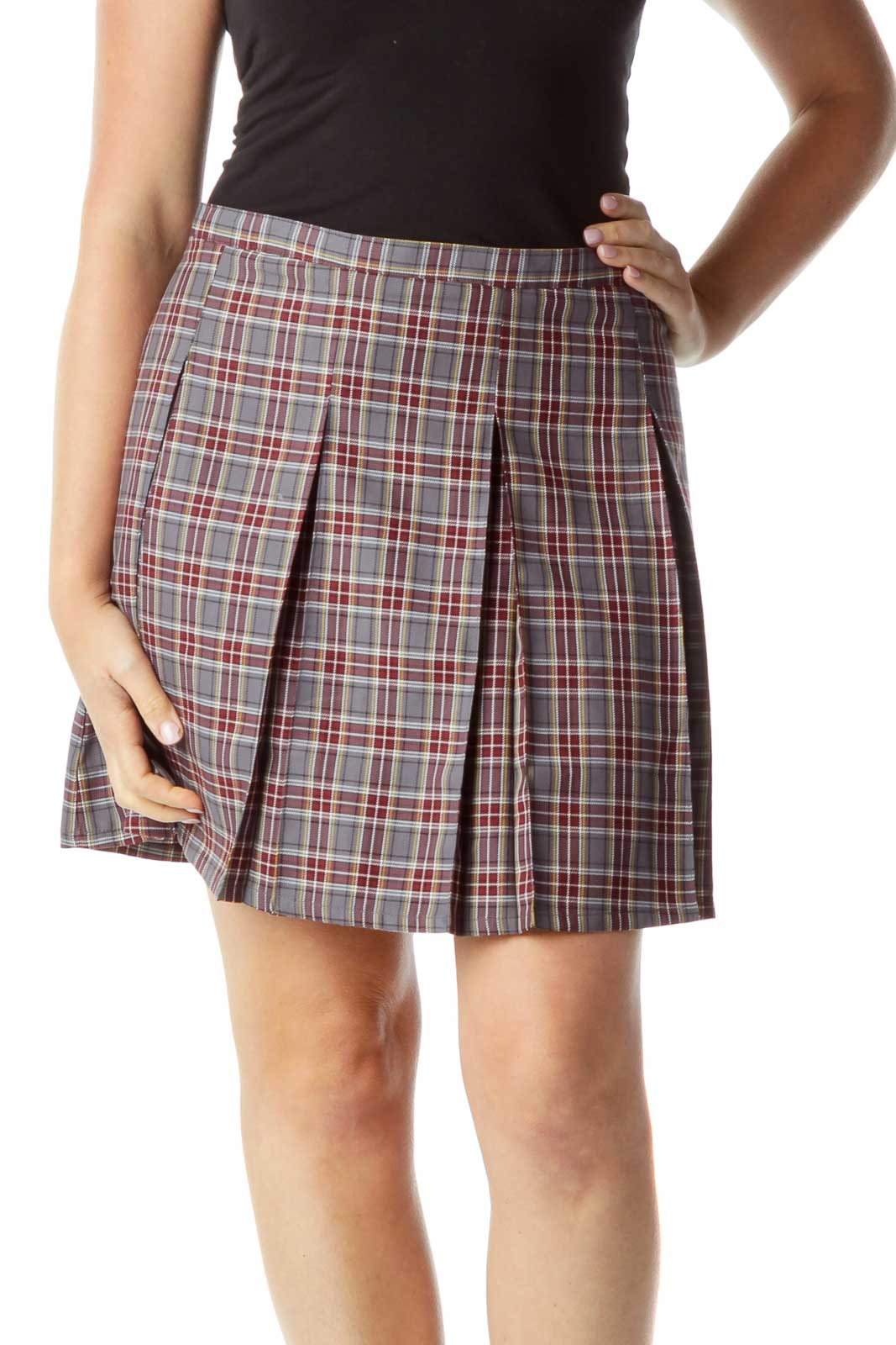 Burgundy Gray Plaid Pleated Skirt Front