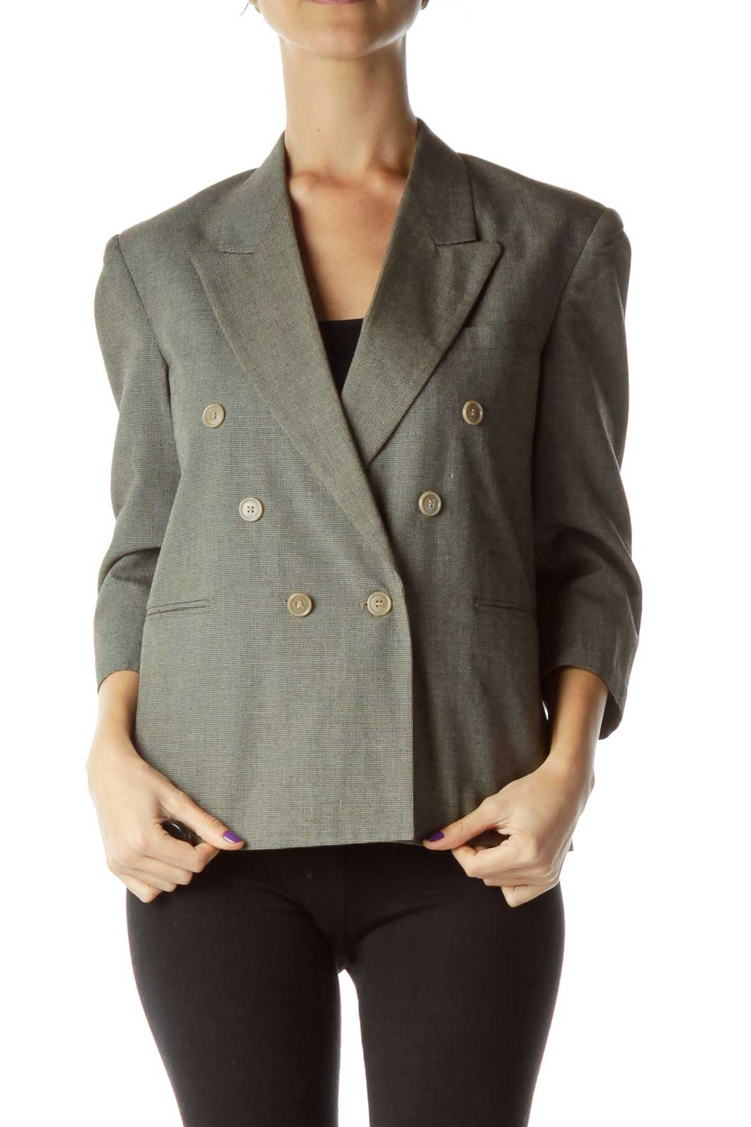 Gray Double Breasted Cropped Blazer Front