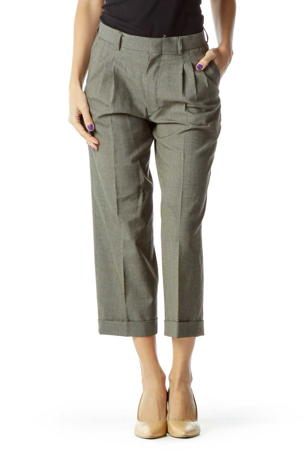 Gray High Waisted Cropped Tapered Pants Front