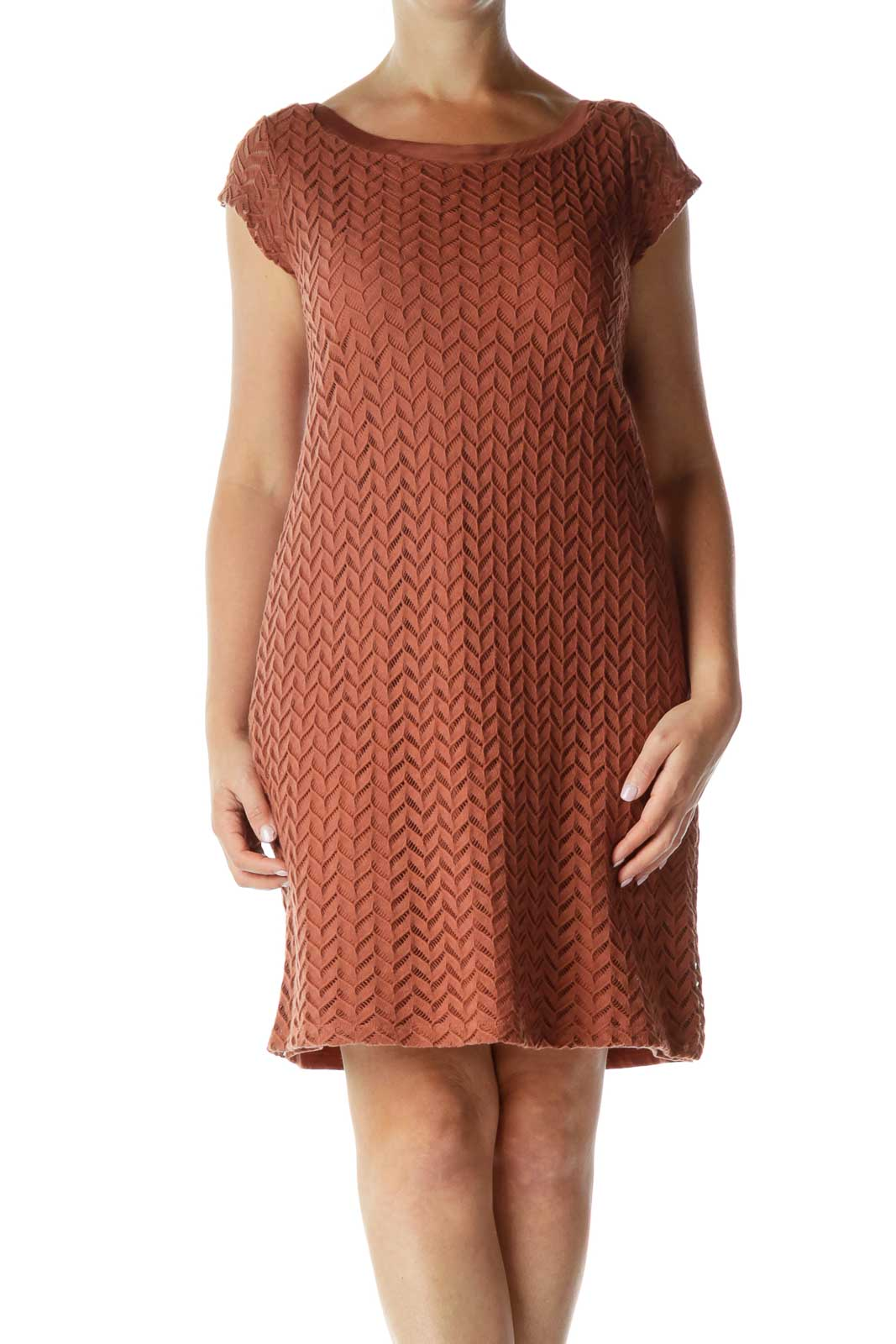Brown Woven Shift Dress Front