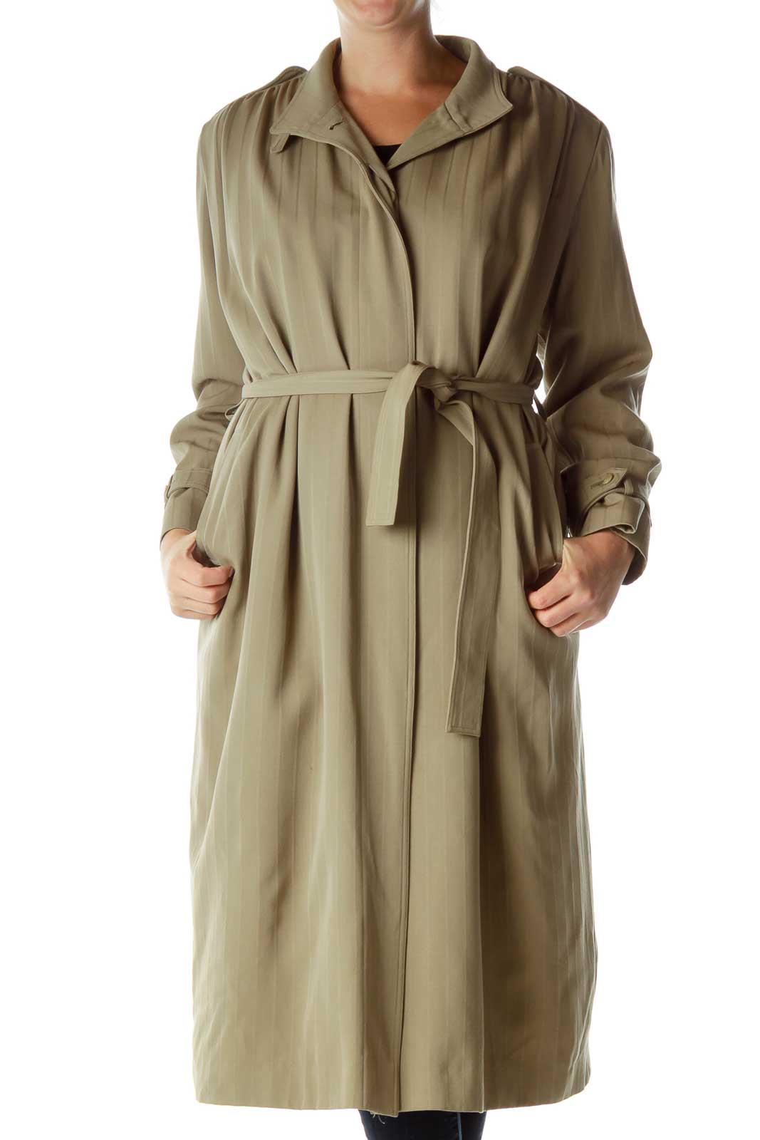 Green Pinstripe Long Trench Coat Front