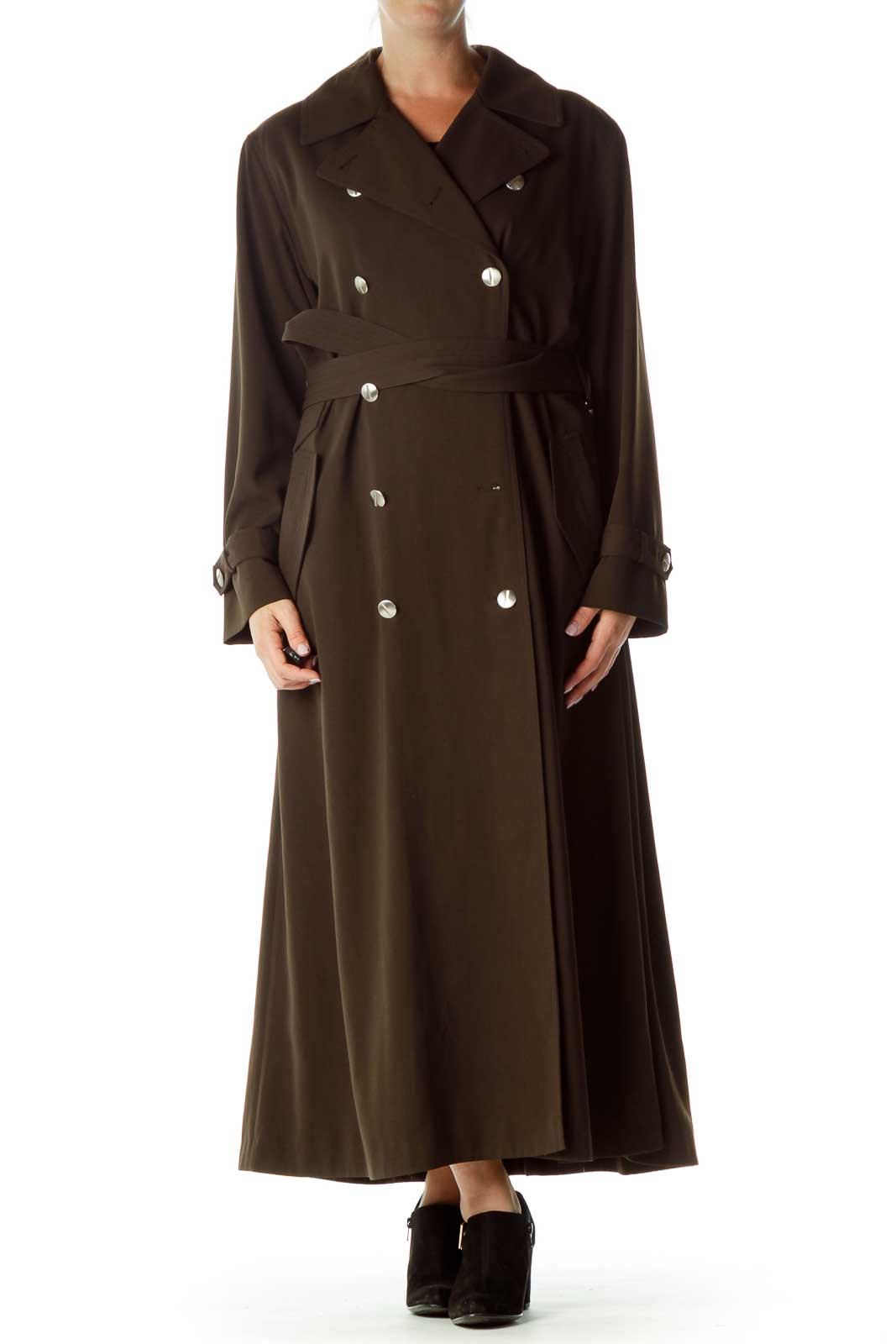 Brown Double-Breasted Trench Coat Front