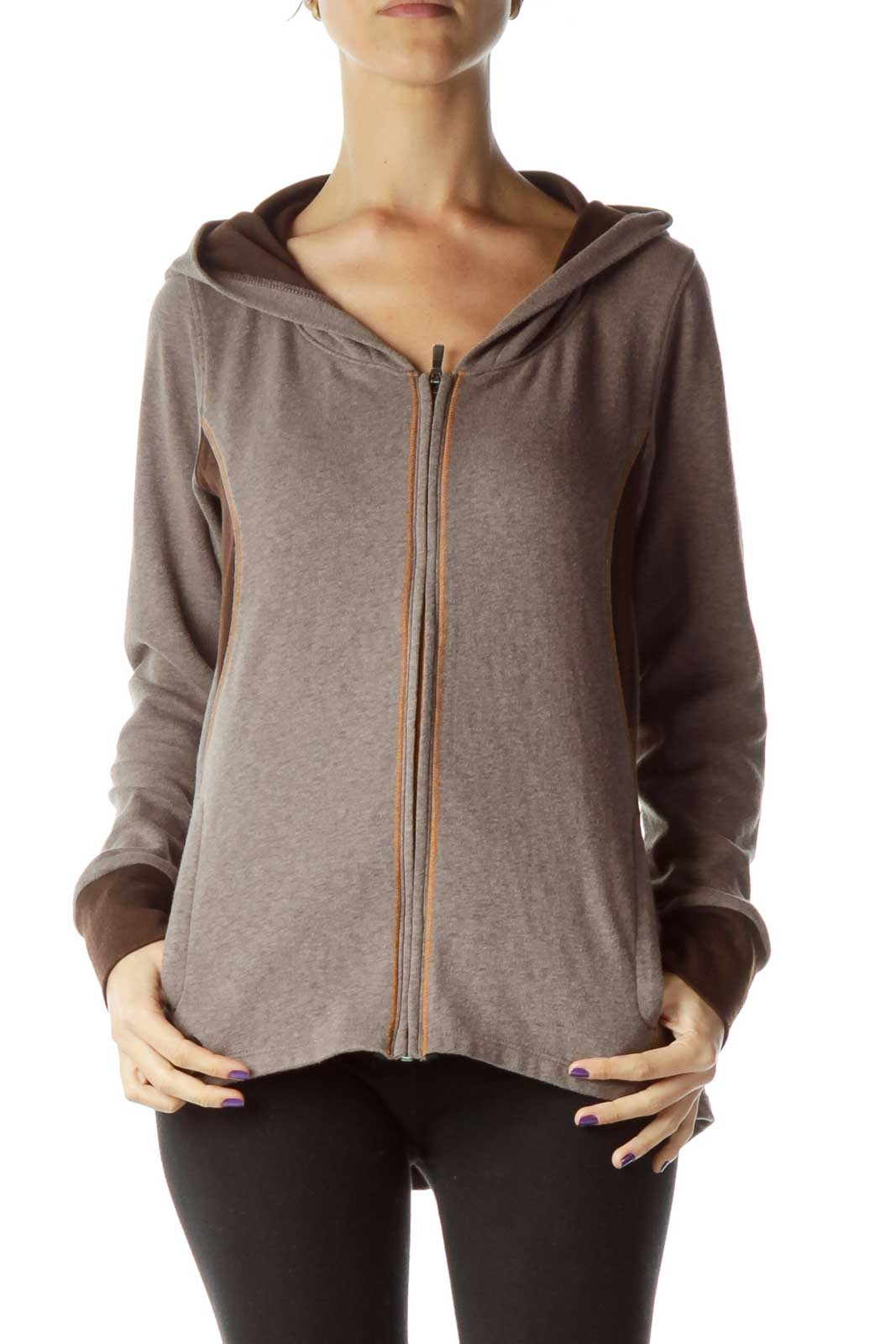 Brown Hooded Zip Up Jacket Front