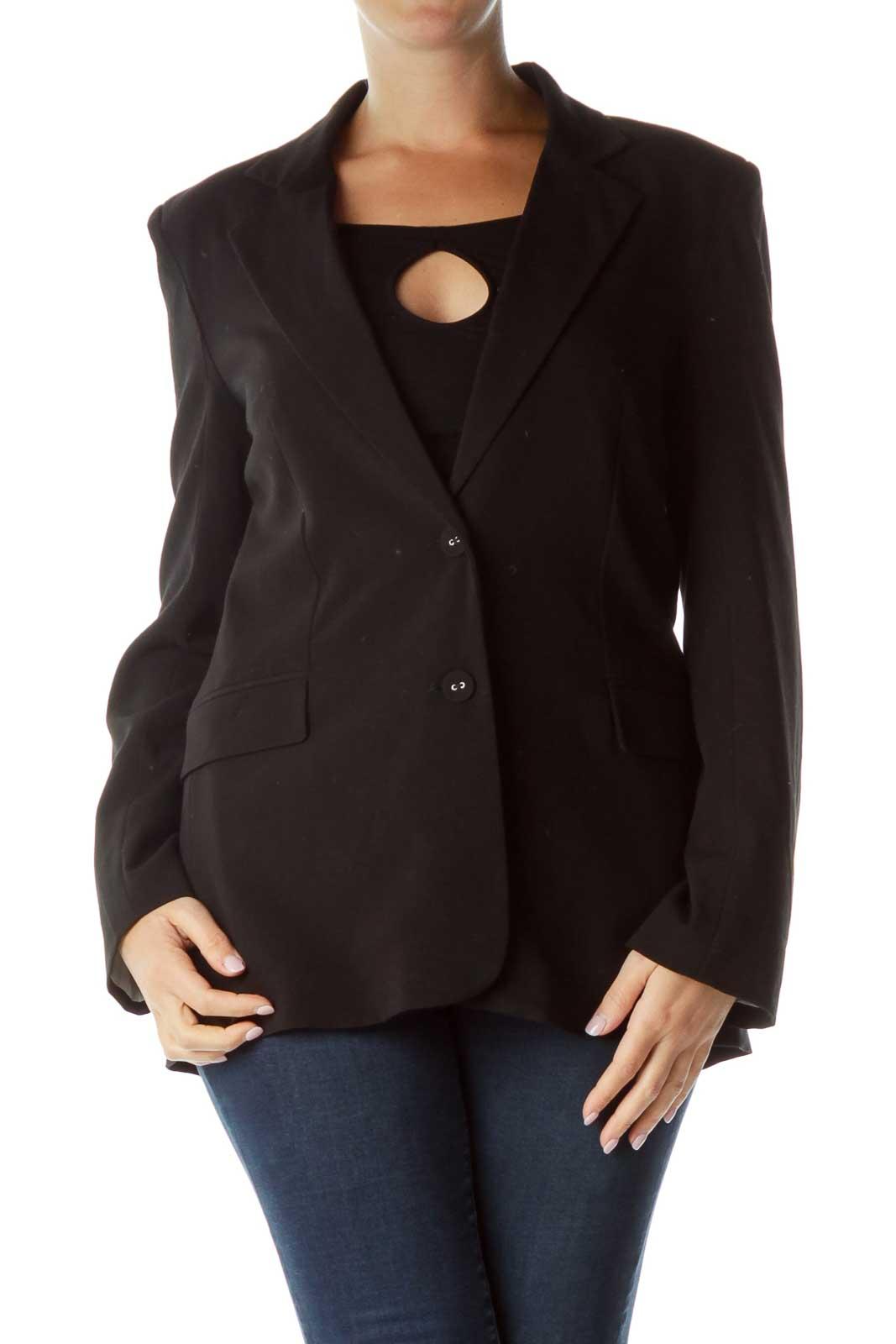 Black Buttoned Blazer Front