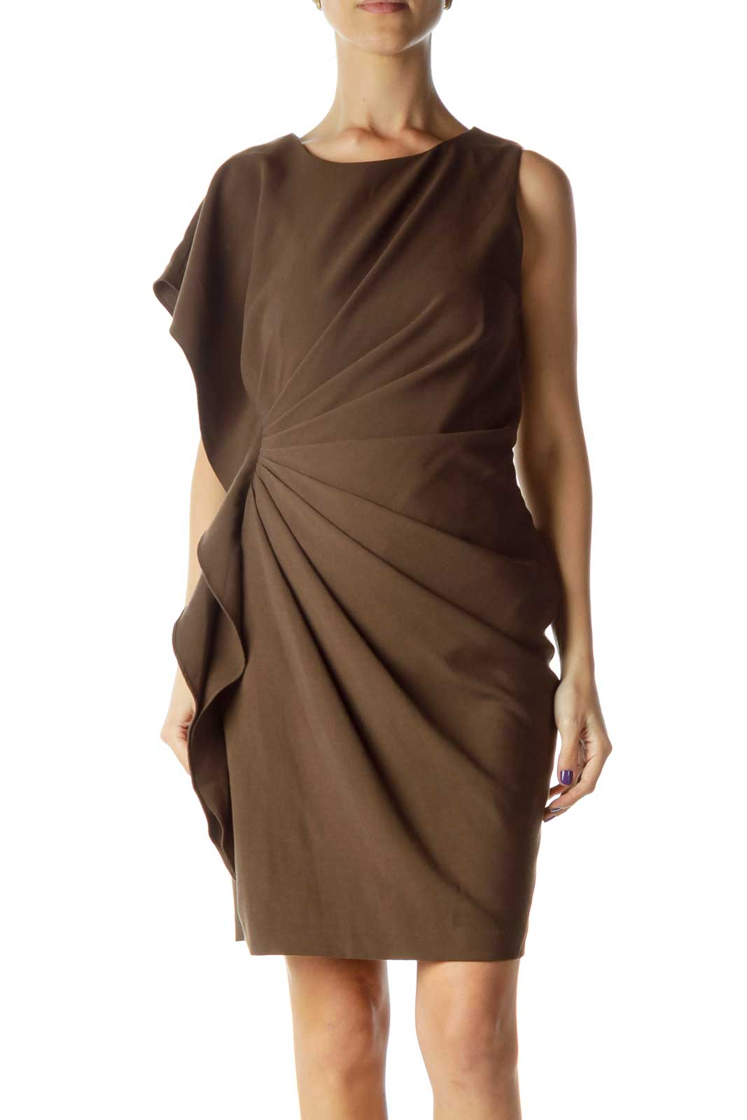 Brown Scrunched Cocktail Dress Front